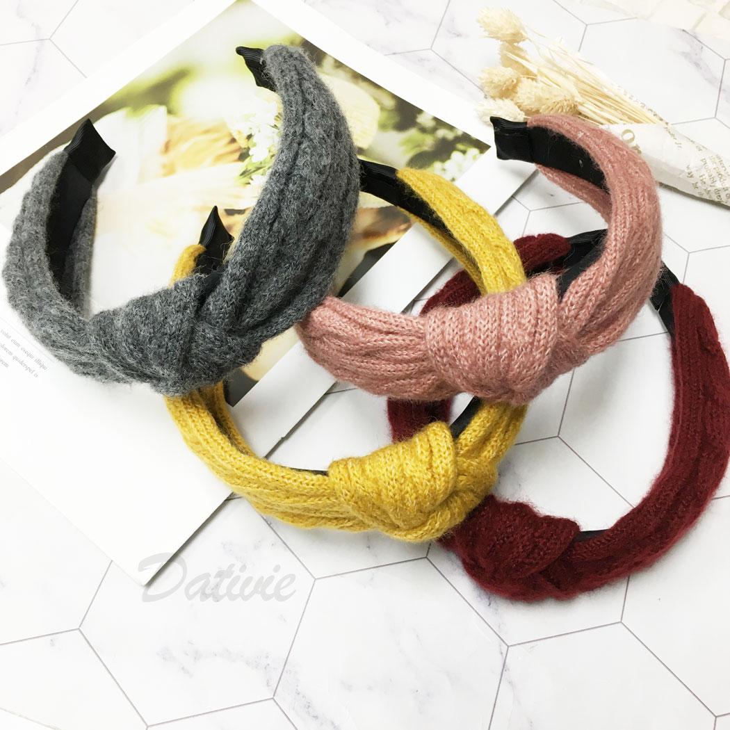 韓國 結 毛衣布 簡約 四色 髮箍 髮飾