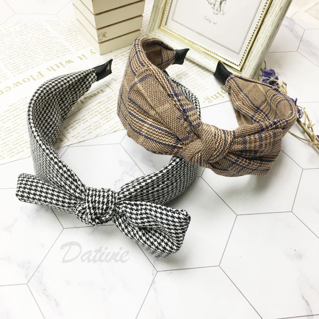 韓國 蝴蝶結 千鳥格 髮箍 髮飾