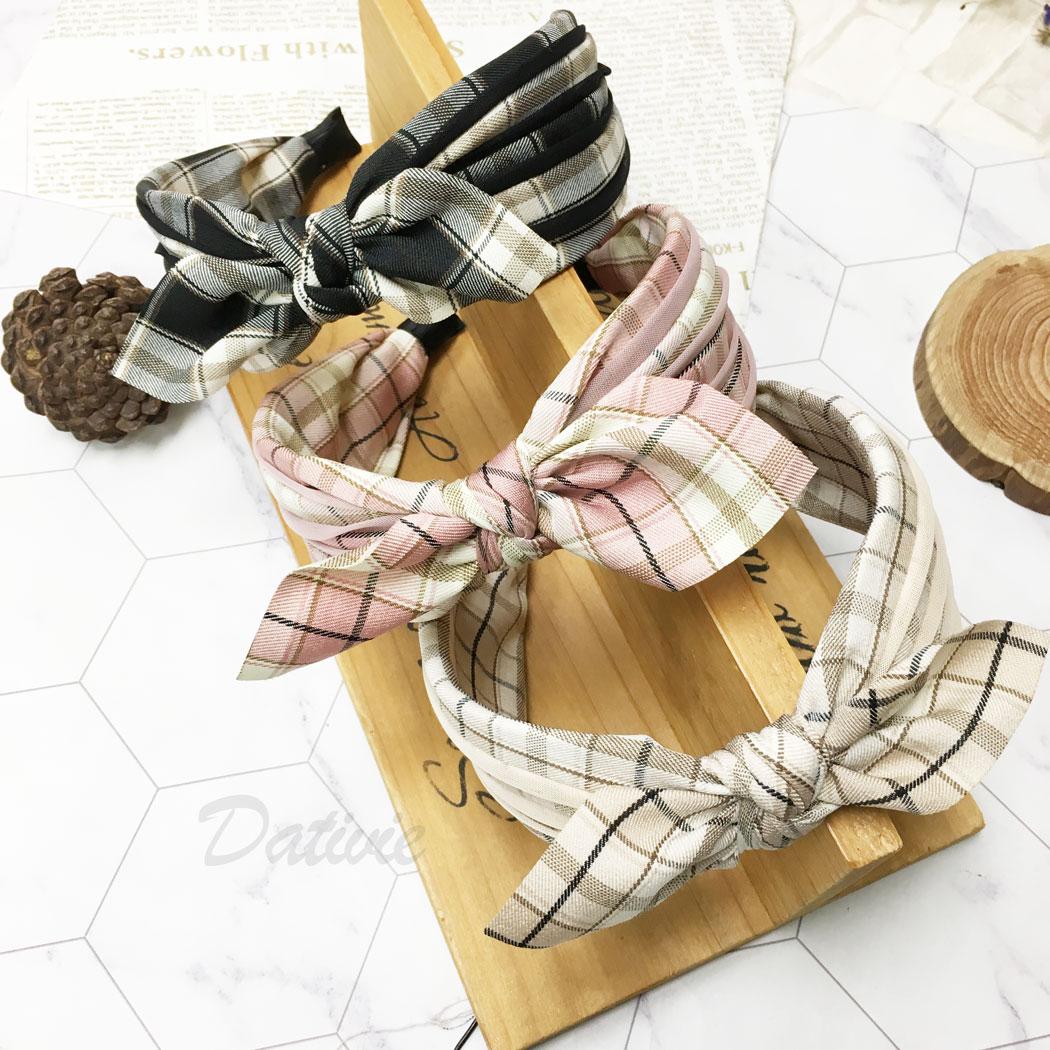 韓國 蝴蝶結 格子 三色 髮箍 髮飾