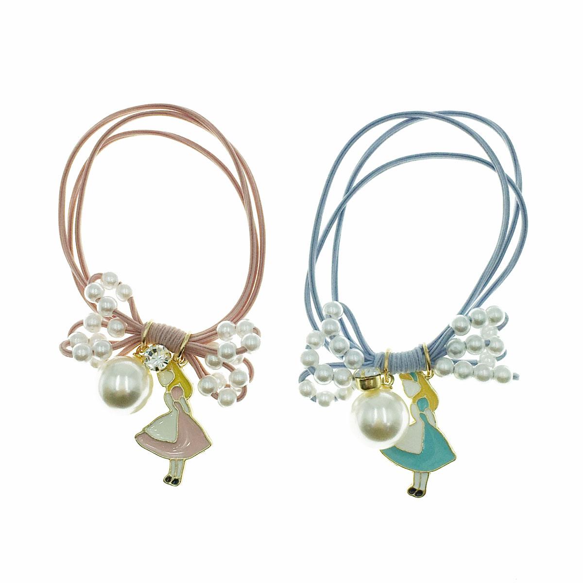 韓國 珍珠 水鑽 愛麗絲 蝴蝶結 兩色 髮束 髮圈 髮飾