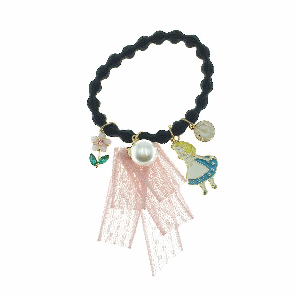 韓國 珍珠 愛麗絲 時鐘 花朵 雷絲帶 髮束 髮圈 髮飾