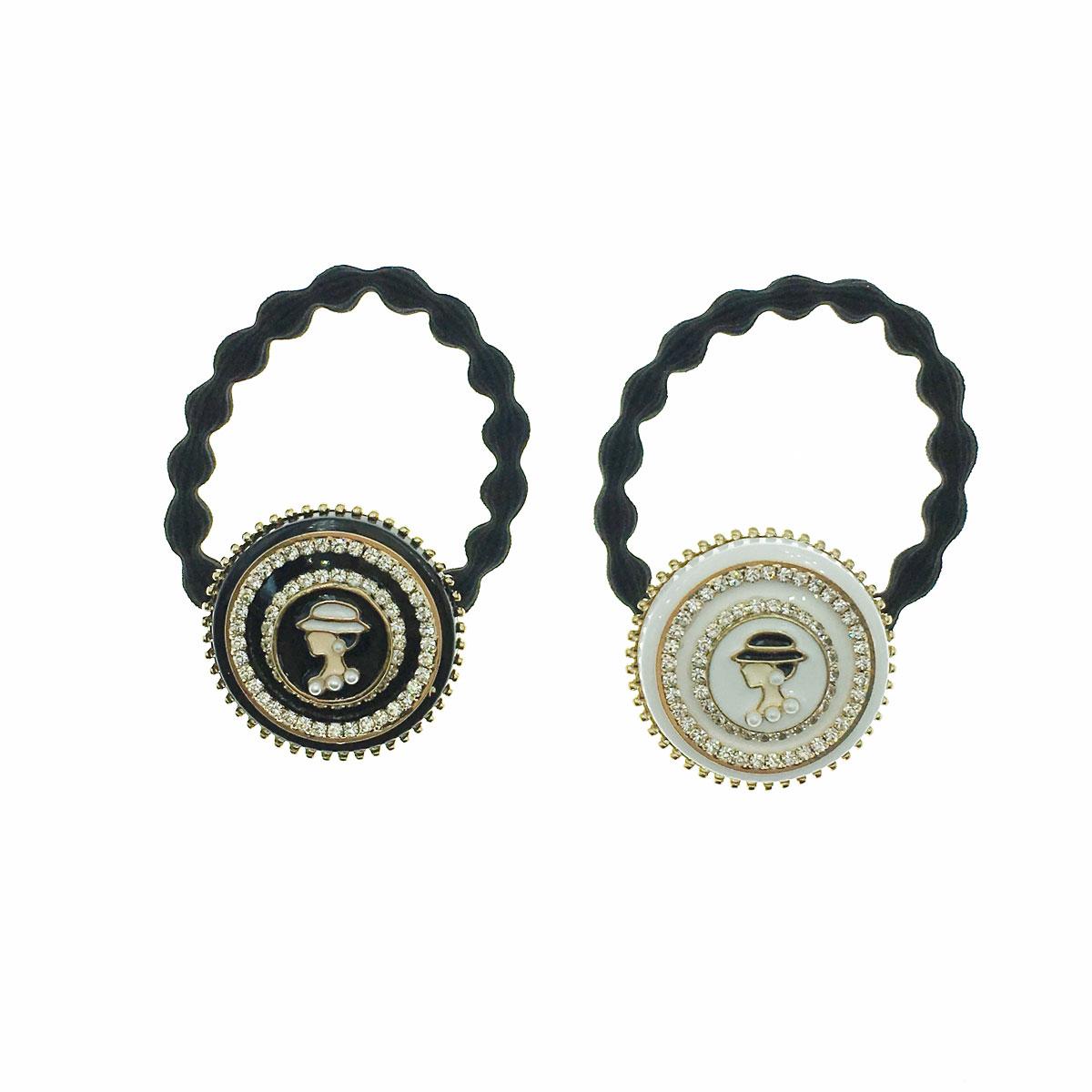 韓國 水鑽 珍珠 小香風 女人 兩色 髮束 髮圈