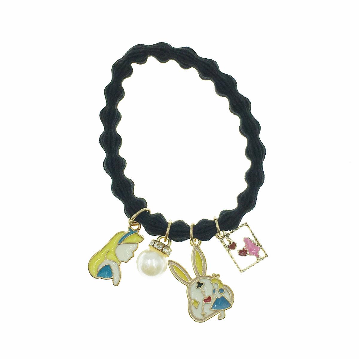 韓國 兔子 時鐘 簍空 珍珠 水鑽 愛麗絲 愛心 髮束 髮圈 髮飾