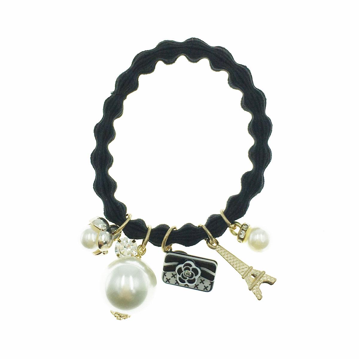 韓國 珍珠 水鑽 鐵塔 小香包 小香風 髮束 髮圈 髮飾