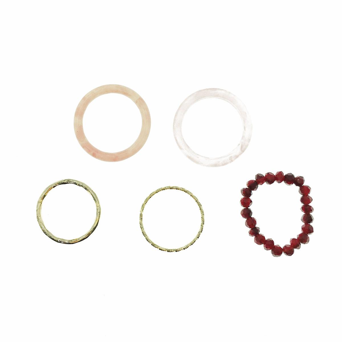 韓國 串珠 理石 金屬 不可調 五入一組 多入戒指 戒指