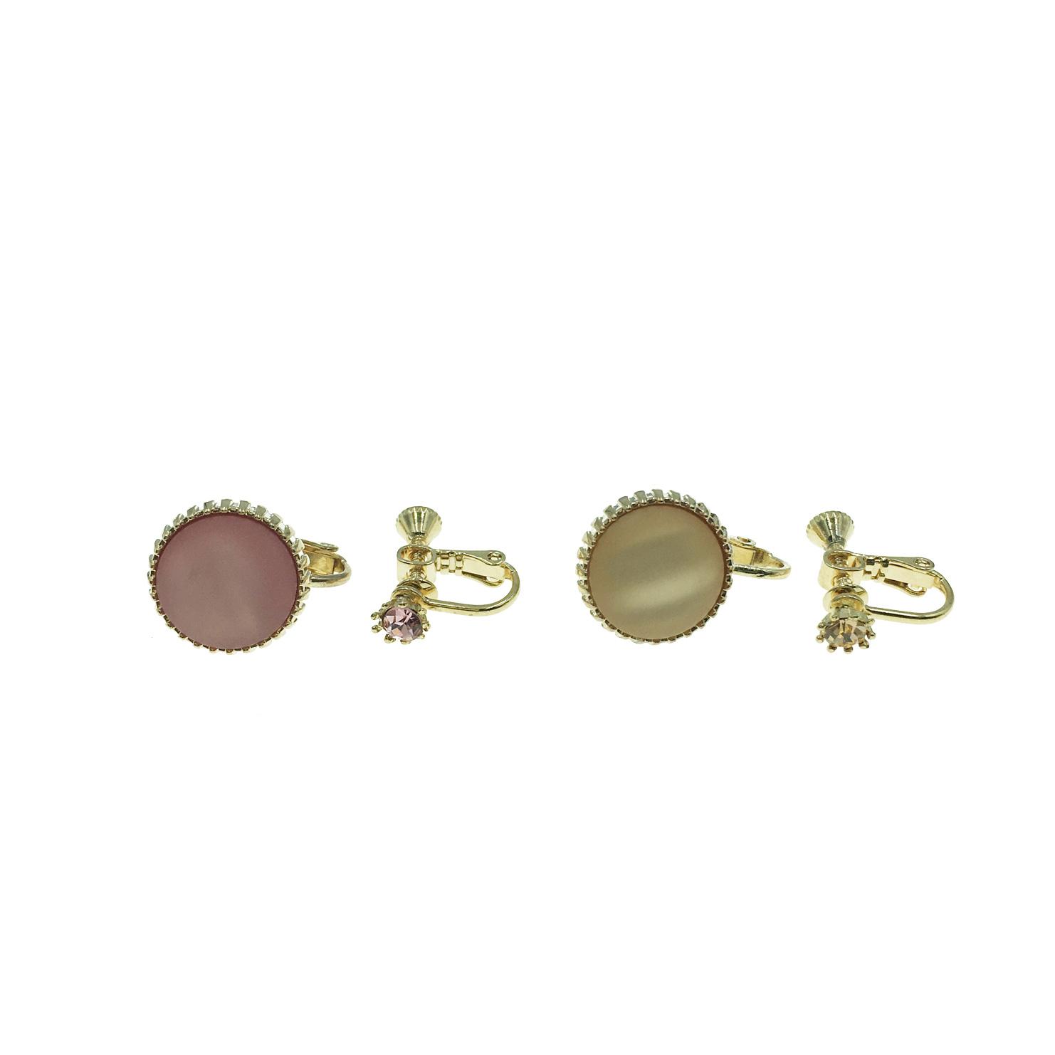 韓國 粉鑽 金鑽 金邊 鈕扣 不對稱 夾式耳環