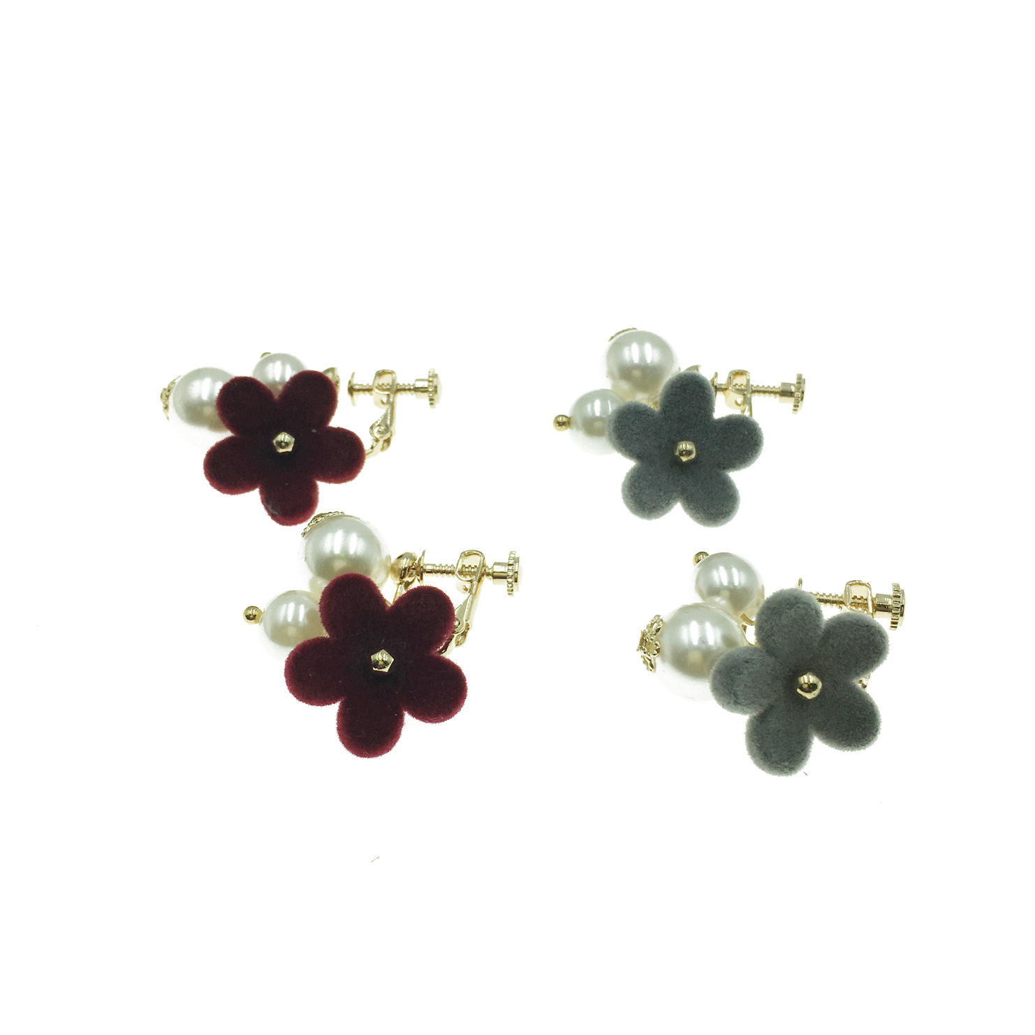 韓國 花朵 珍珠 紅色 灰色 珍珠 氣質 夾式耳環