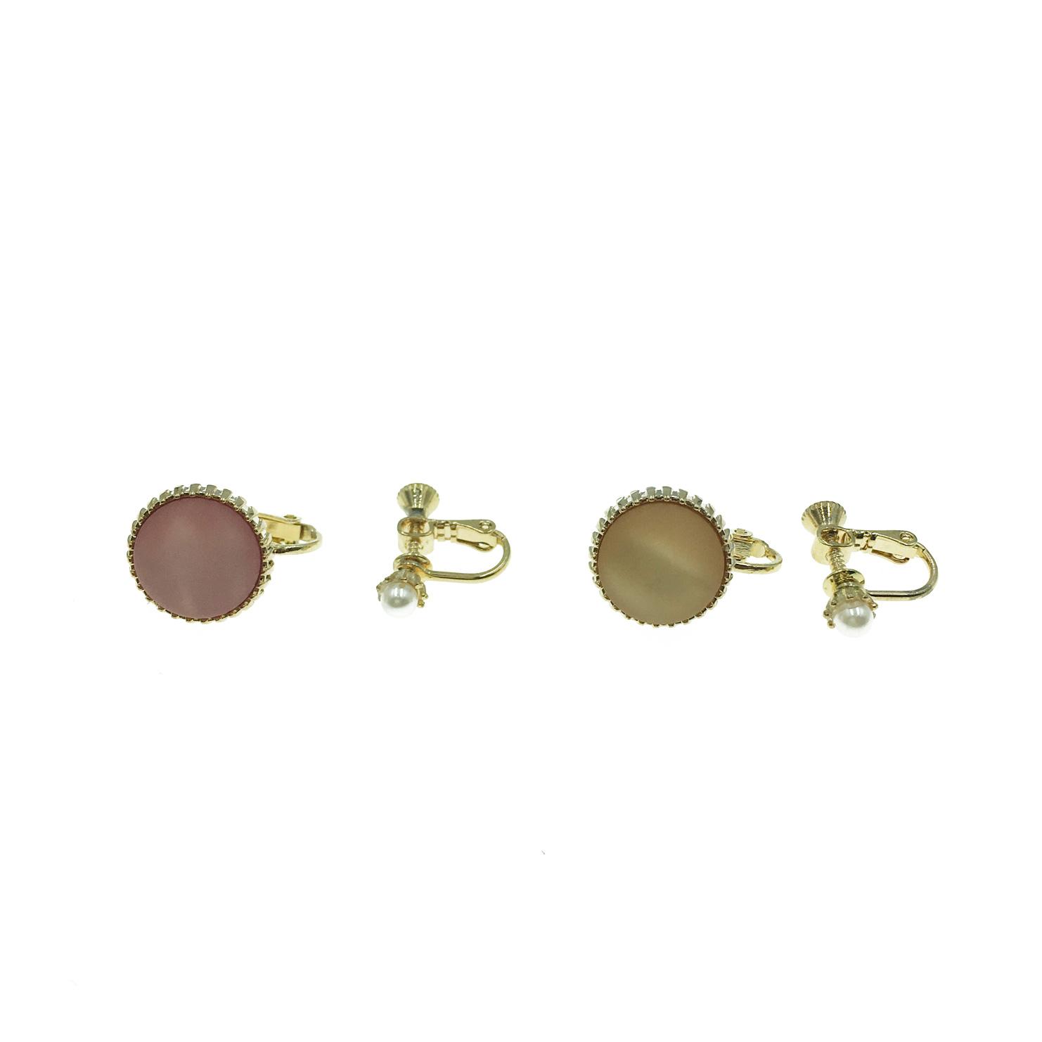 韓國 粉紅 金邊 鈕扣 珍珠 不對稱 夾式耳環