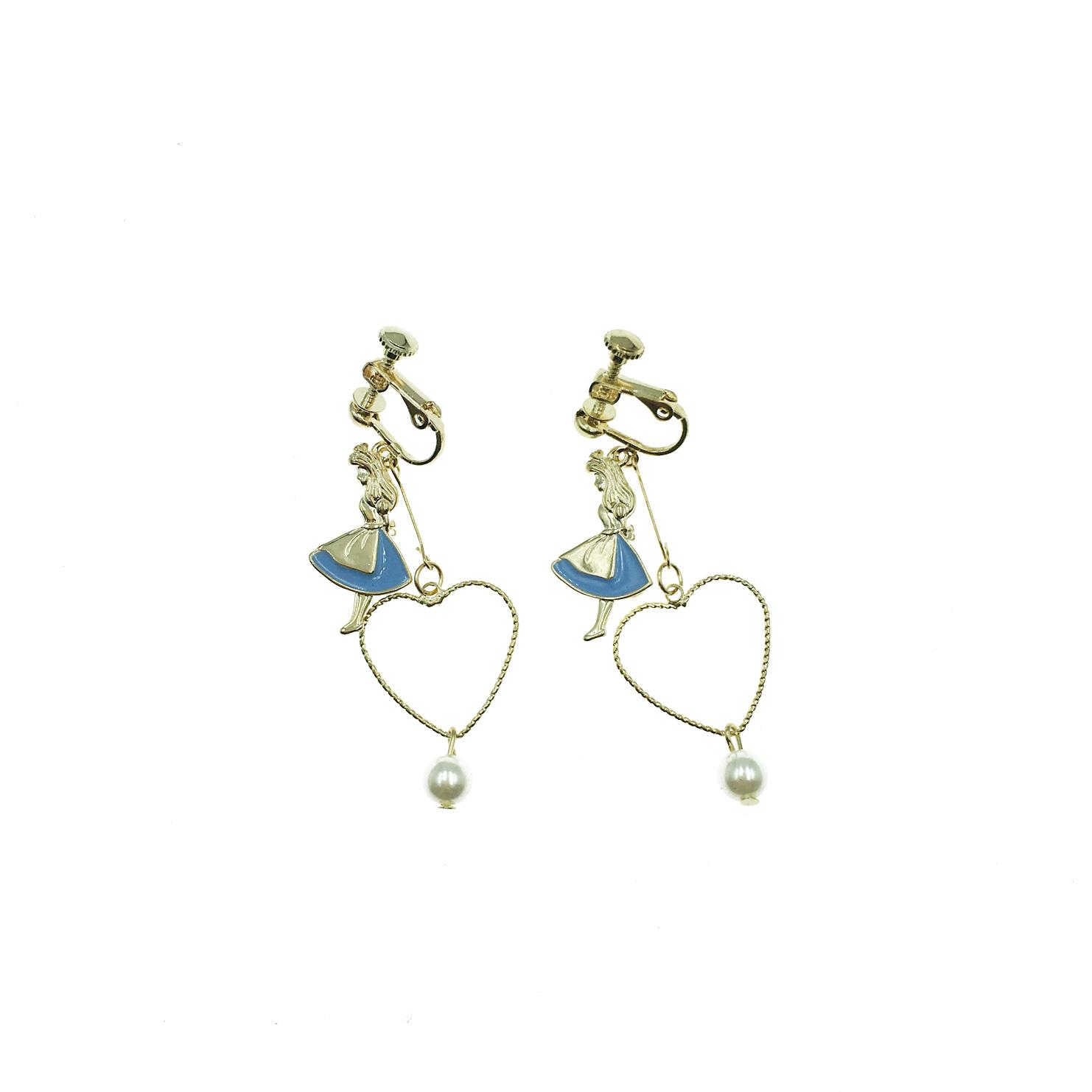 韓國 愛麗絲 簍空愛心 珍珠 吊墜 夾式耳環