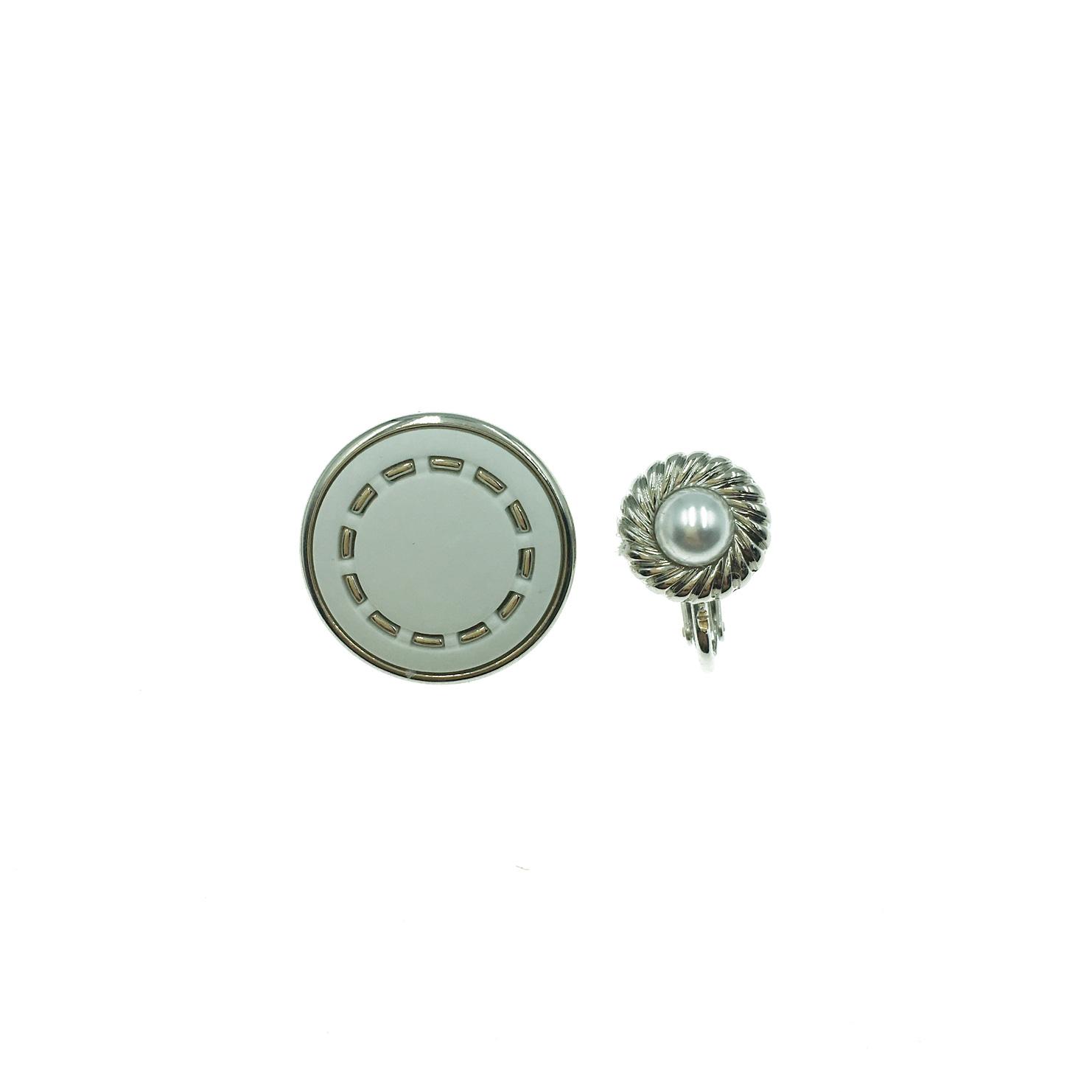 韓國 鈕扣 銀色 珍珠 不對稱 夾式耳環
