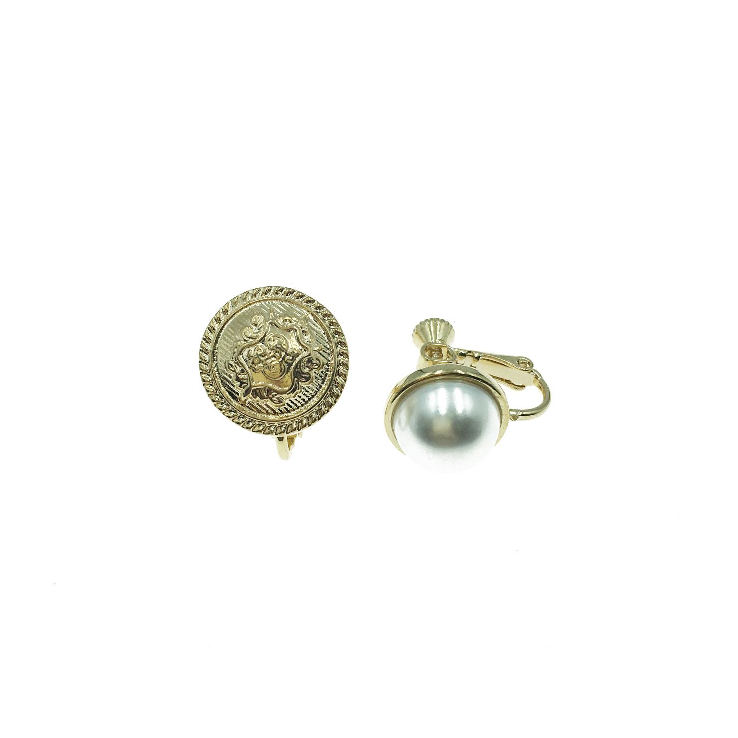 韓國 鈕扣 珍珠 金色 不對稱 貴婦 歐美 夾式耳環