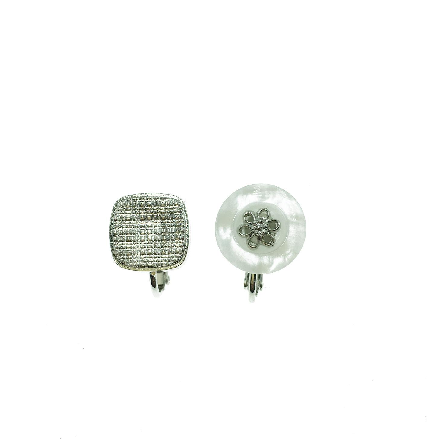 韓國 方形 花朵 鈕扣 不對稱 銀色 貴婦 夾式耳環