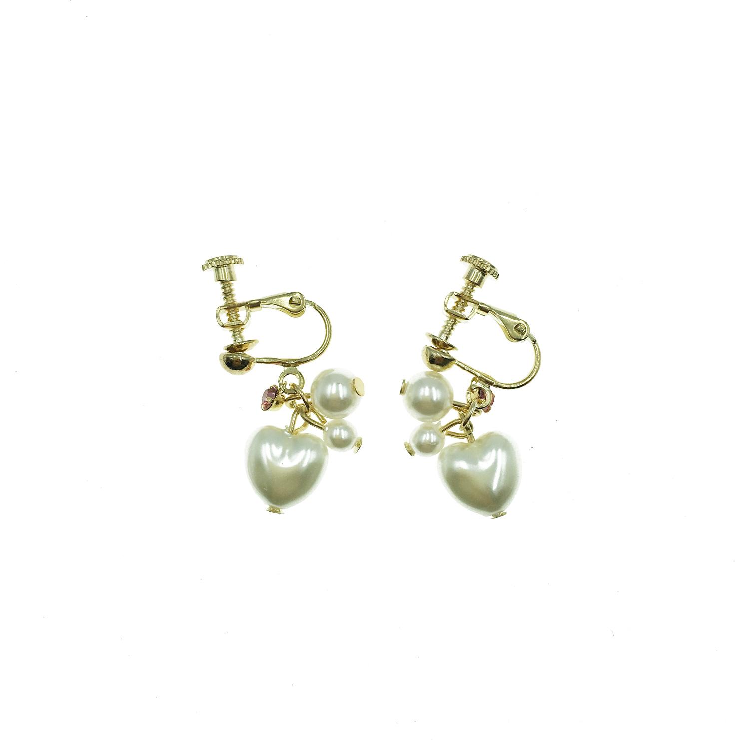 韓國 愛心型 珍珠 粉水鑽 吊墜 夾式耳環