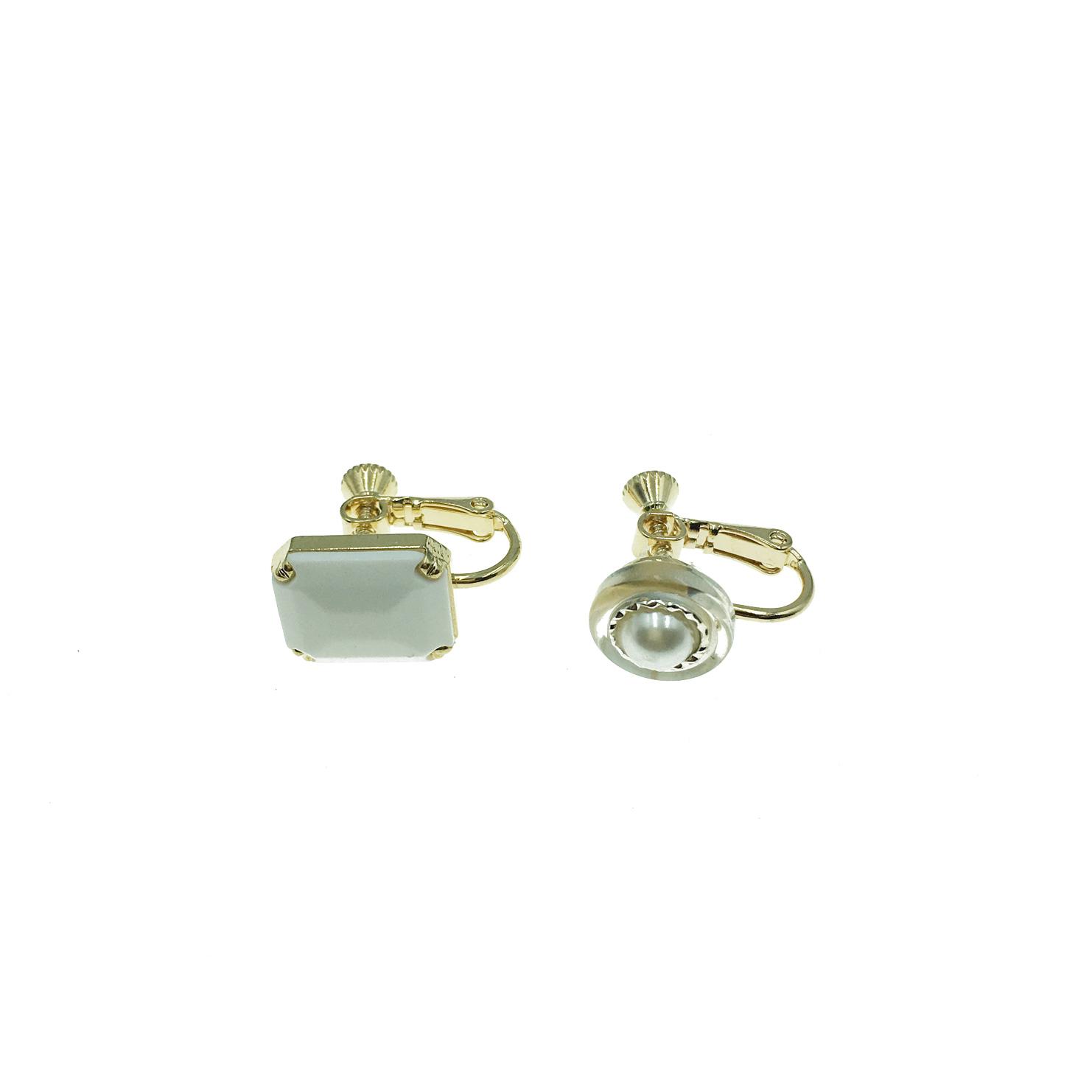 韓國 鈕扣 方形 方塊 珍珠 白色 銀色 不對稱 夾式耳環