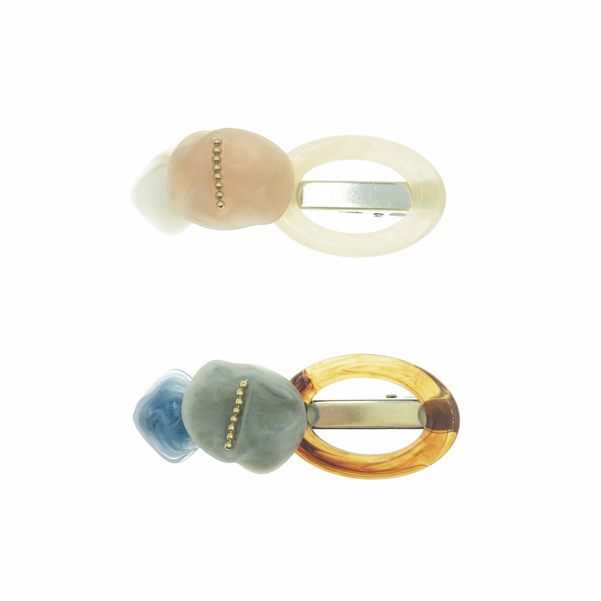韓國 理石 簍空 兩色 壓夾 髮夾 髮飾