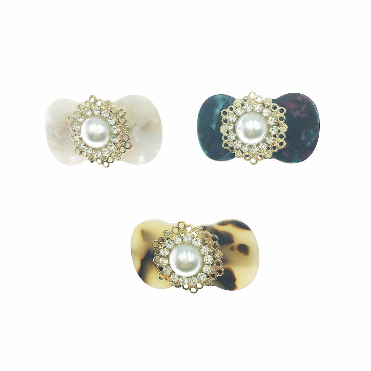 韓國 珍珠 水鑽 理石 蝴蝶結 三色 壓夾 髮夾 髮飾