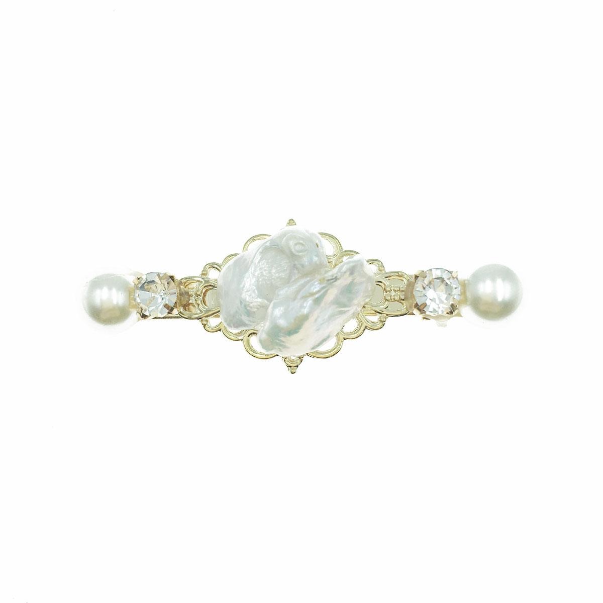韓國 天然珠 水鑽 珍珠 金邊 壓夾 髮夾