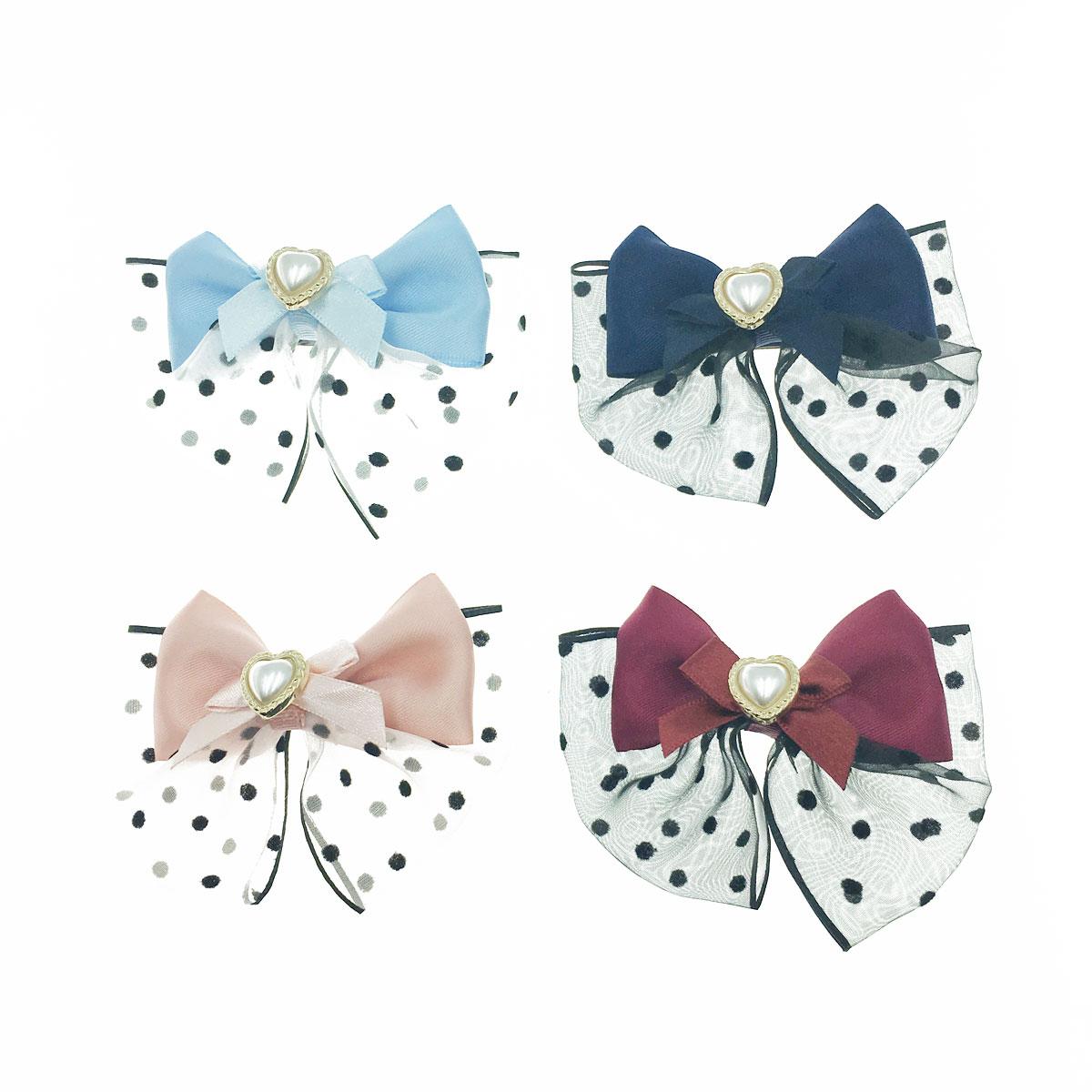韓國 點點 珍珠 蝴蝶結 愛心 四色 壓夾 髮夾 髮飾