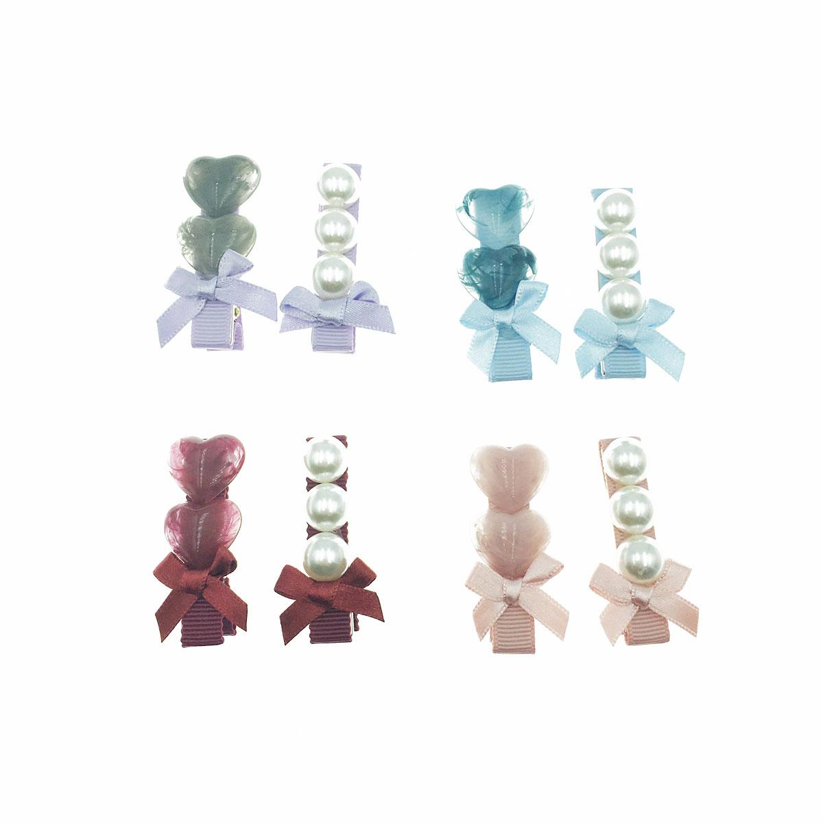 韓國 愛心 珍珠 蝴蝶結 暈染 不對稱 四色 二入一組 壓夾 髮夾 髮飾