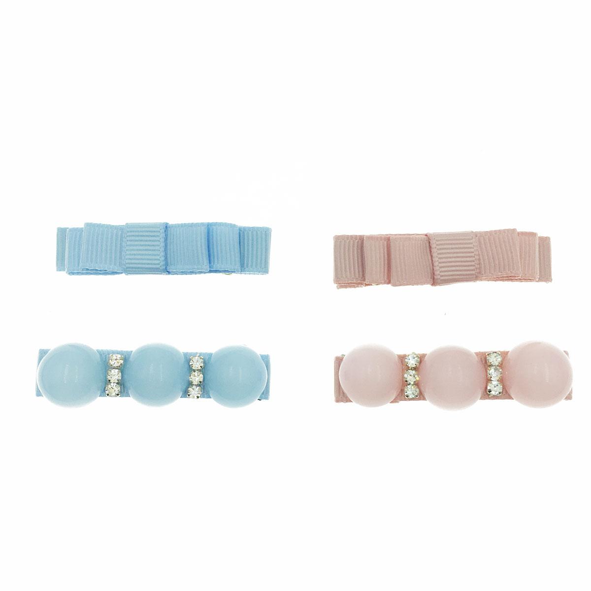 韓國 素色 蝴蝶結 水鑽 不對稱 兩色 二入一組 壓夾 髮夾 髮飾