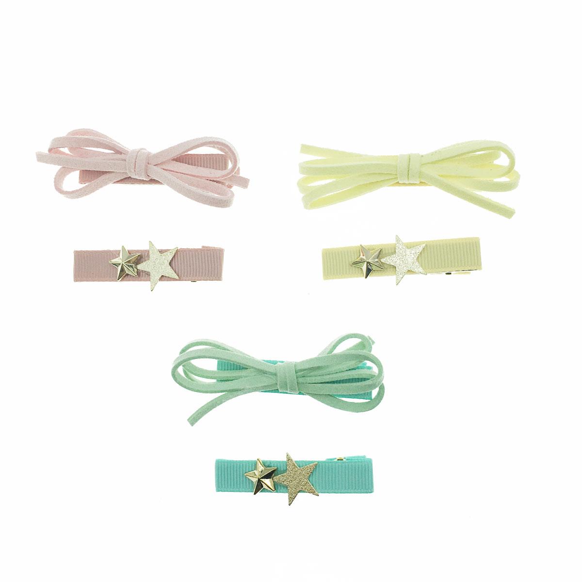 韓國 蝴蝶結 星星 素色 不對稱 三色 二入一組 壓夾 髮夾 髮飾