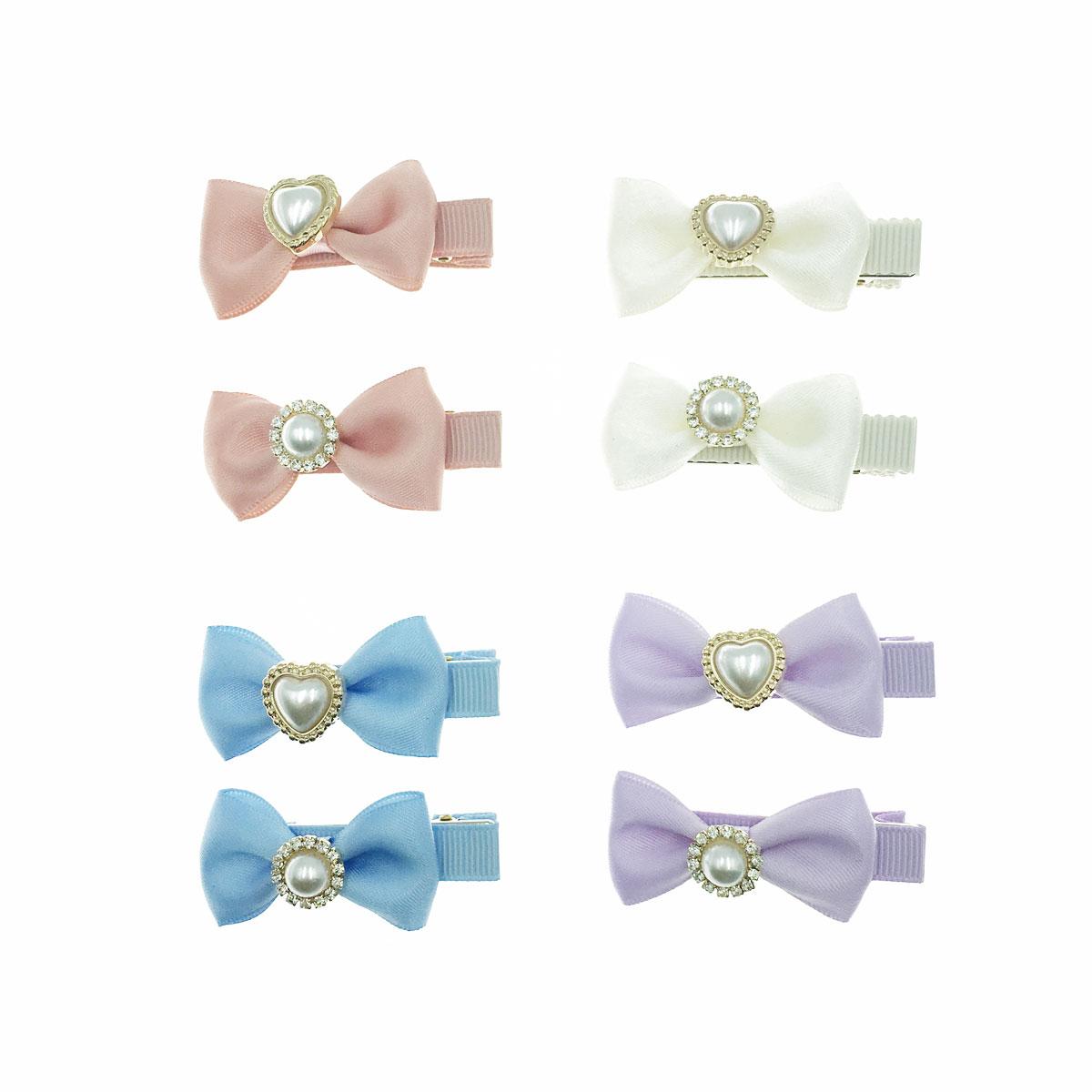 韓國 珍珠 水鑽 愛心 圓 蝴蝶結 不對稱 四色 二入一組 壓夾 髮夾 髮飾