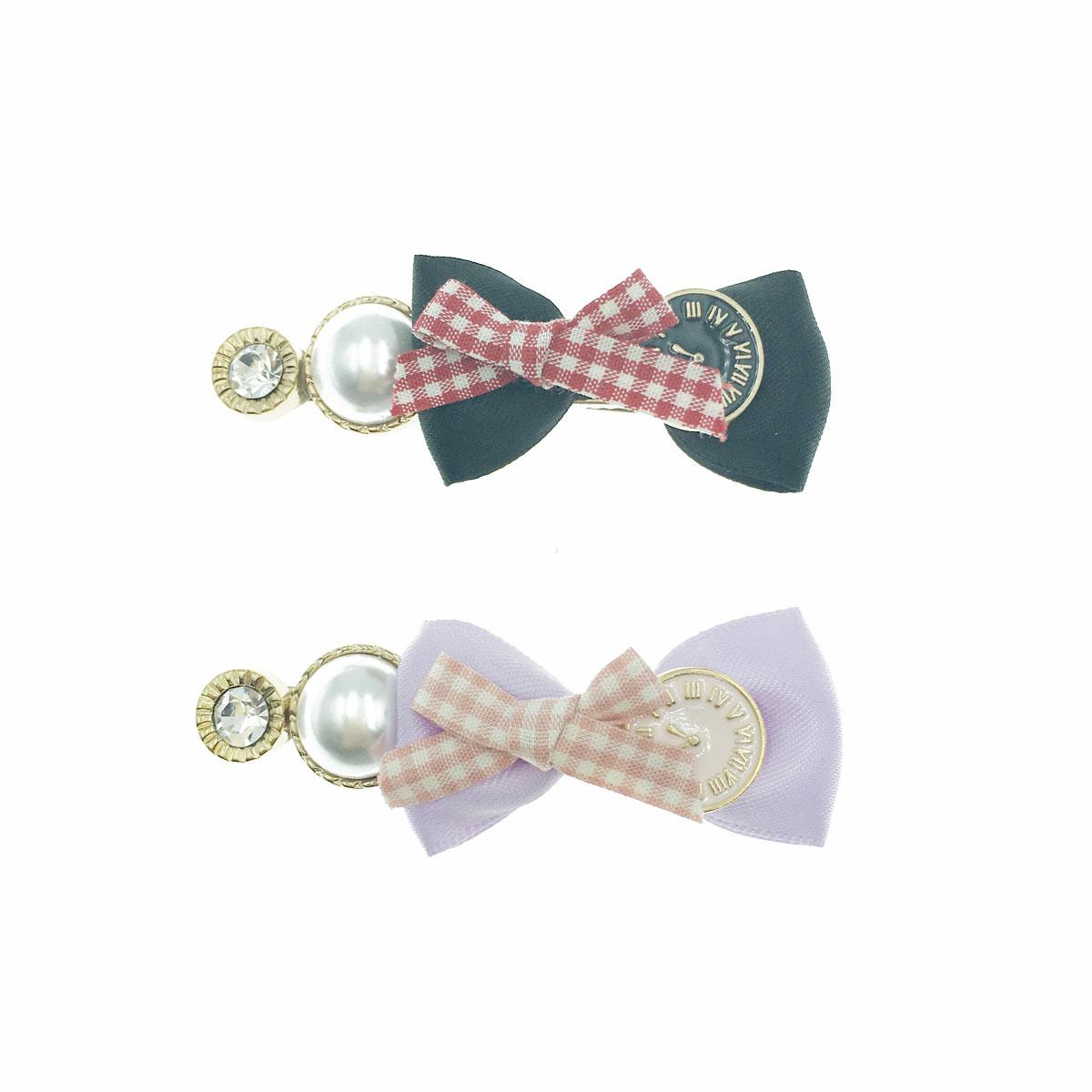 韓國 水鑽 珍珠 蝴蝶結 愛麗絲 時鐘 格紋 撞色 兩色 壓夾 髮夾 髮飾