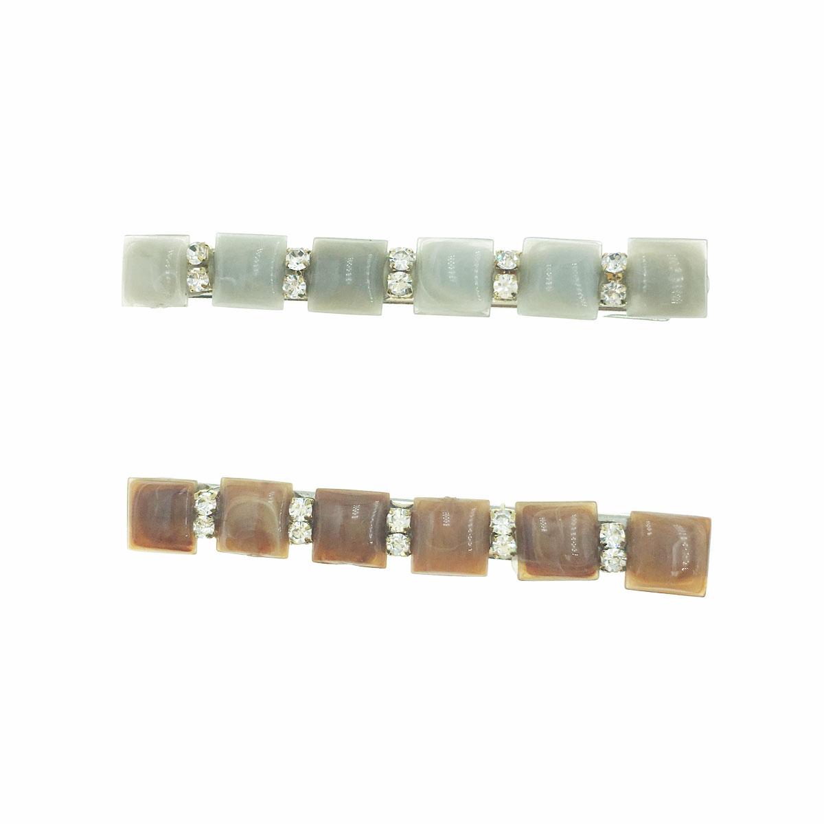 韓國 水鑽 方形 大理石 兩色 壓夾 髮夾 髮飾