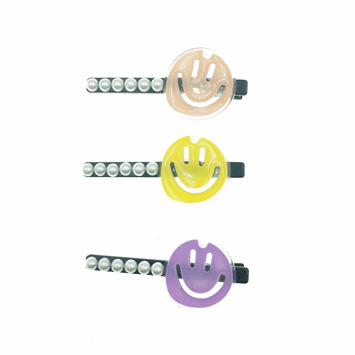 韓國 珍珠 微笑 透明 三色 壓夾 髮夾 髮飾