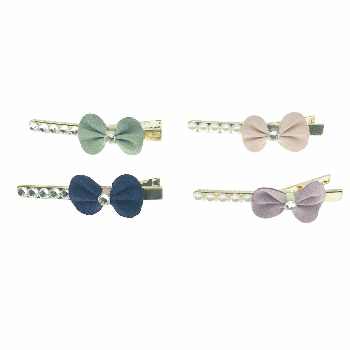 韓國 水鑽 珍珠 蝴蝶結 素色 四色 壓夾 髮夾 髮飾