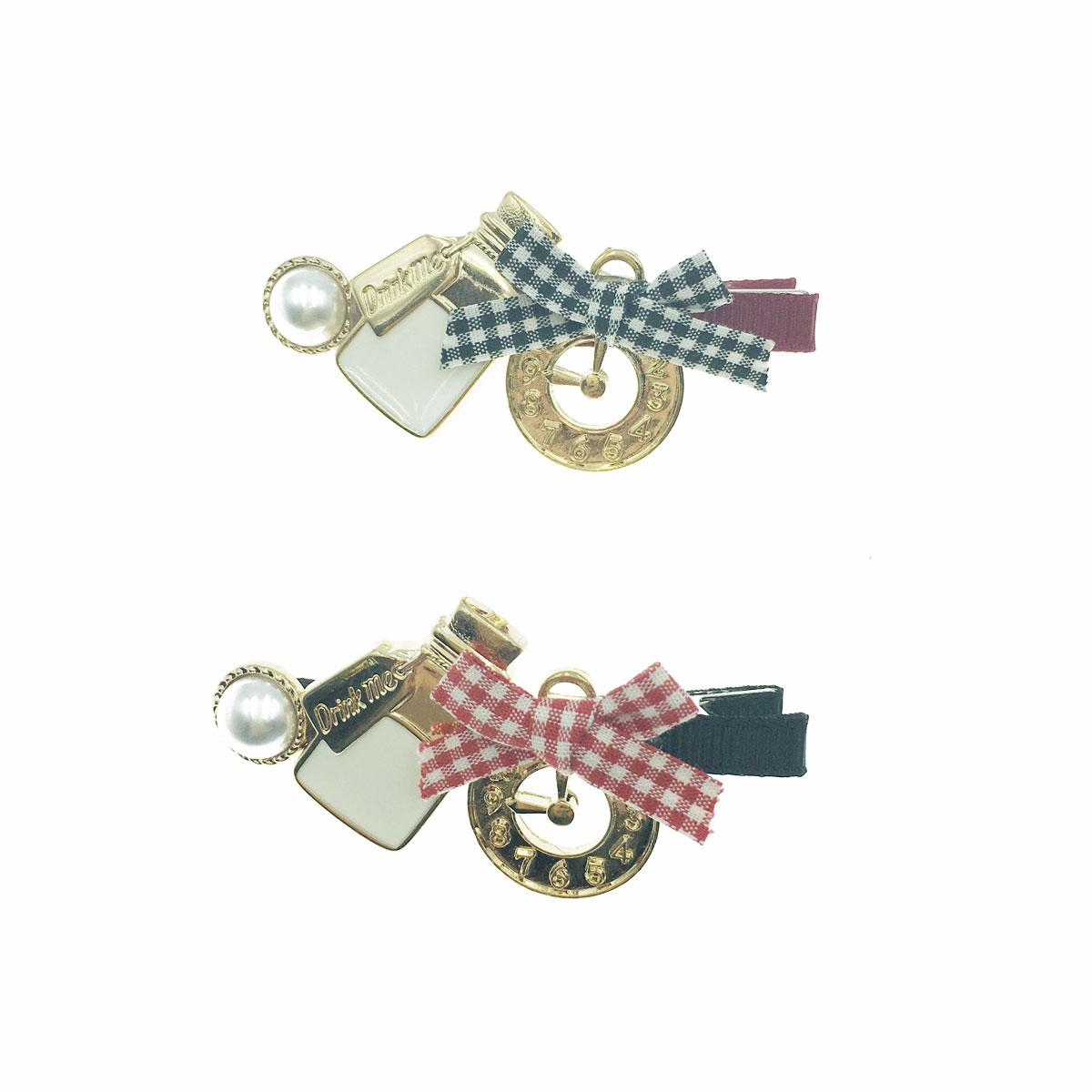 韓國 蝴蝶結 時鐘 瓶子 珍珠 格紋 簍空 兩色 壓夾 髮夾 髮飾