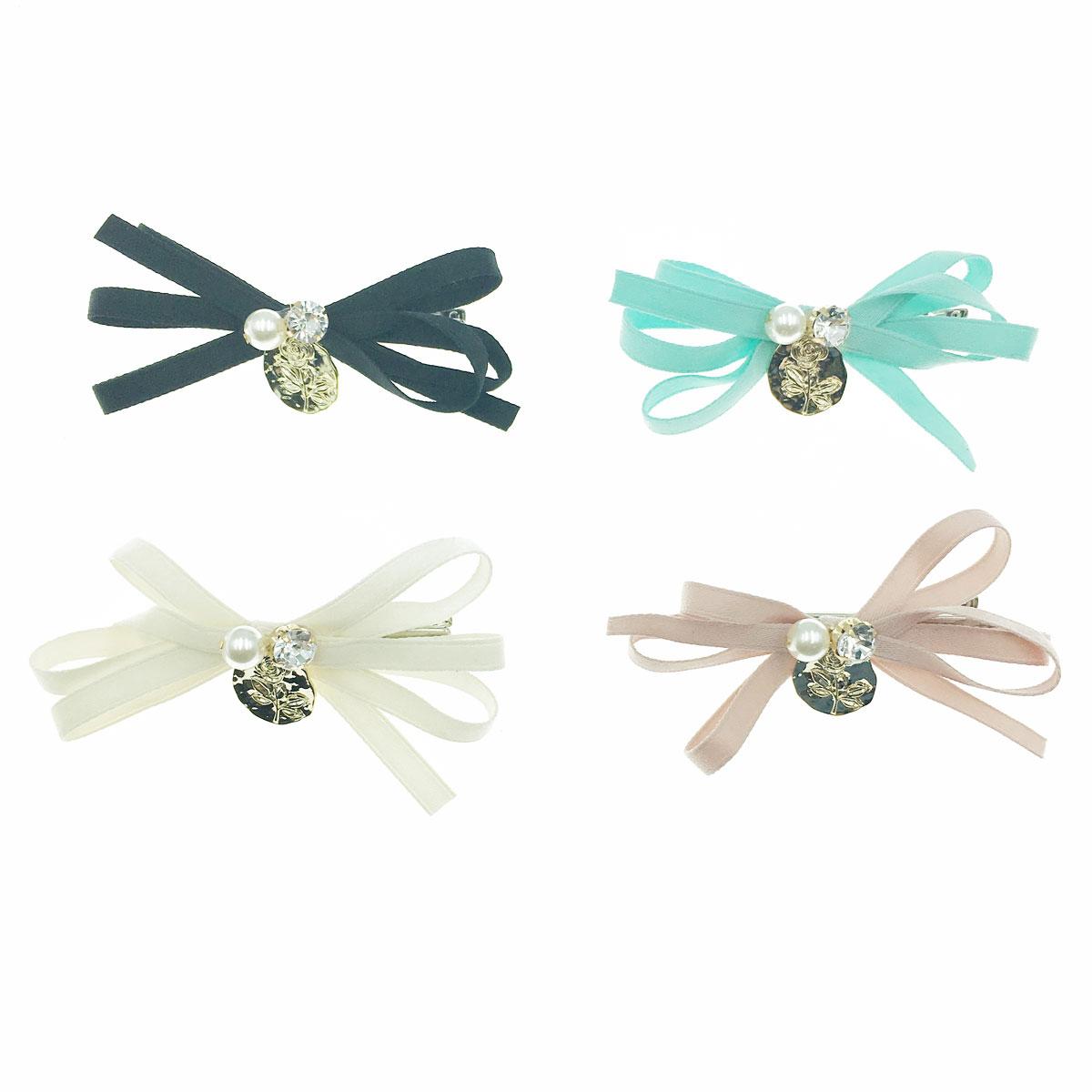 韓國 蝴蝶結 珍珠 水鑽 玫瑰花 四色 壓夾 髮夾 髮飾