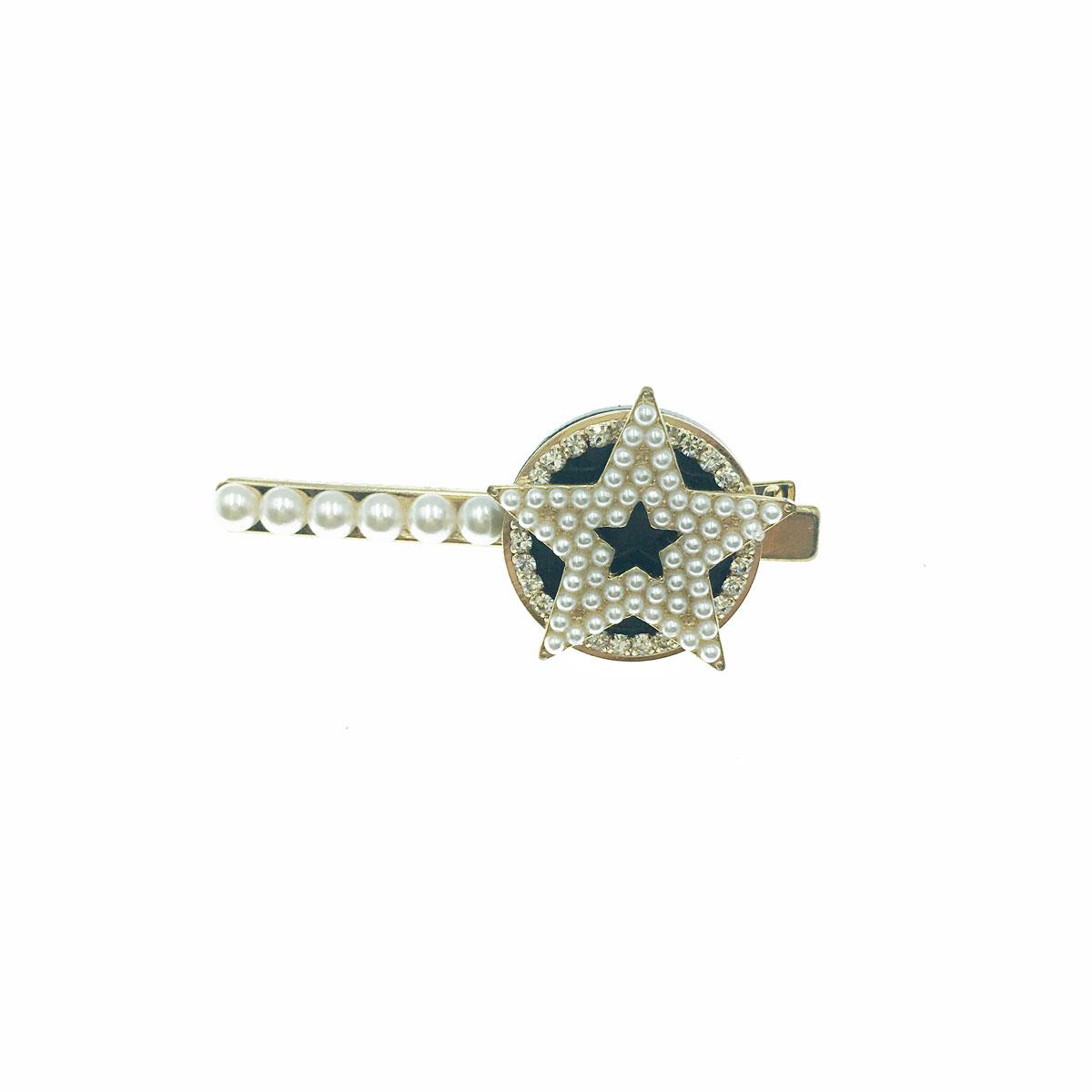 韓國 水鑽 珍珠 星星 金邊 壓夾 髮夾 髮飾