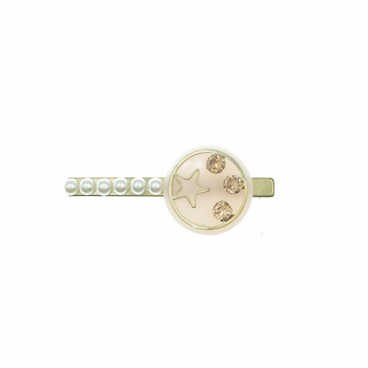韓國 水鑽 星星 珍珠 簍空 壓夾 髮夾 髮飾