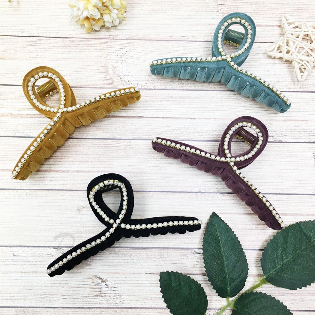 絨毛 珍珠 簍空 四色 鯊魚夾 髮夾 髮飾