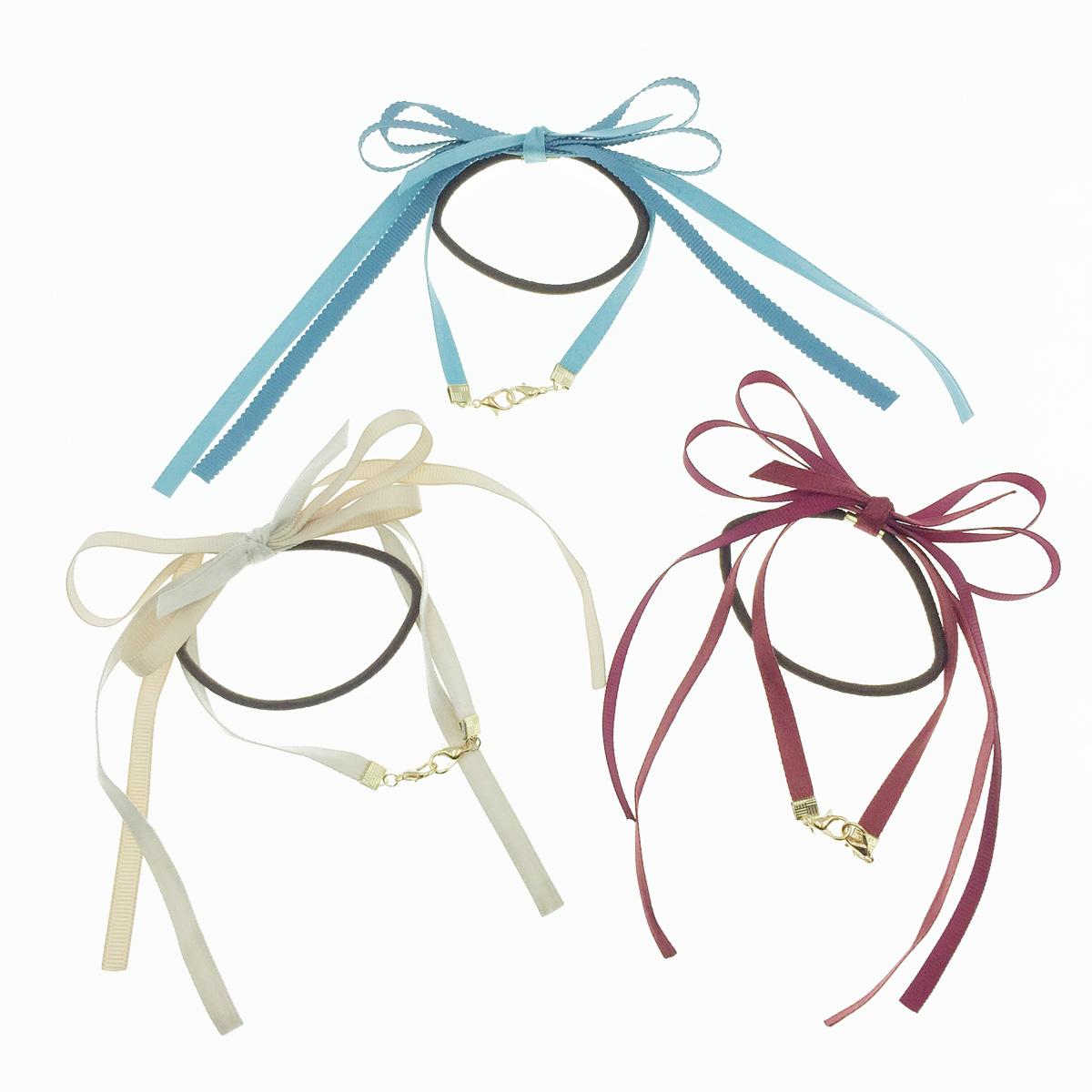 韓國 口罩鍊 蝴蝶結 髮飾 素面 細緞帶 三色 髮圈 髮束