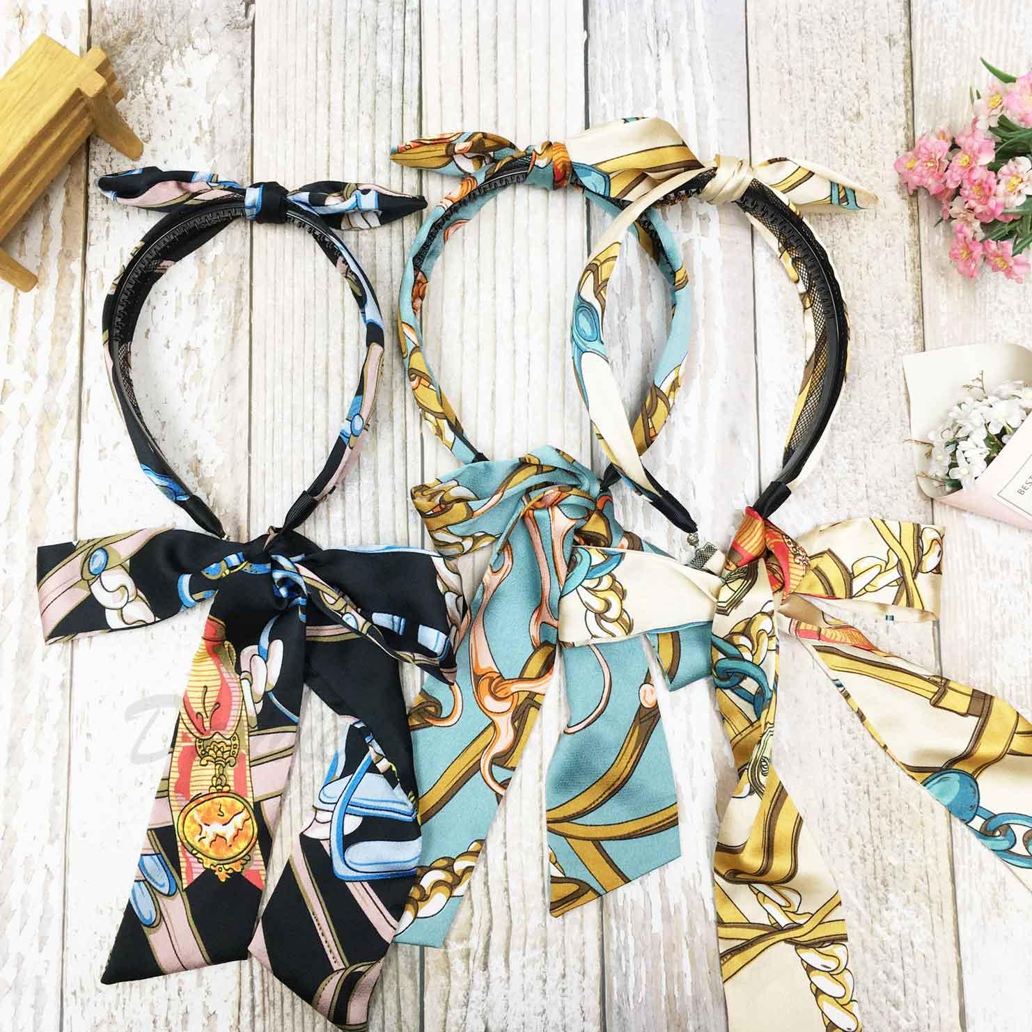 韓國 花紋 蝴蝶結 絲巾 絲質 髮帶 髮束 三色 髮箍 髮飾