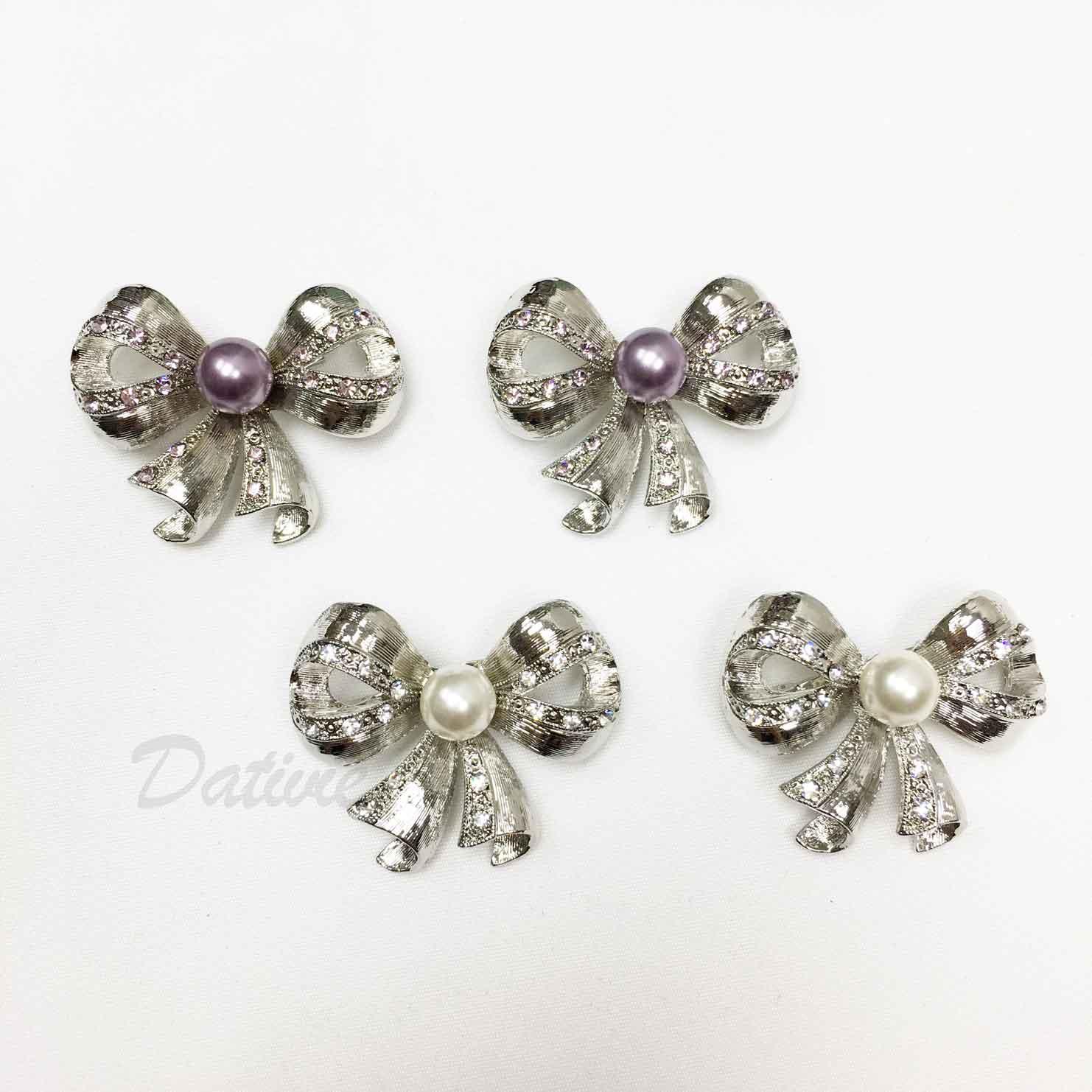蝴蝶結 珍珠 水鑽 寬緞帶 兩色 二入一組 胸針