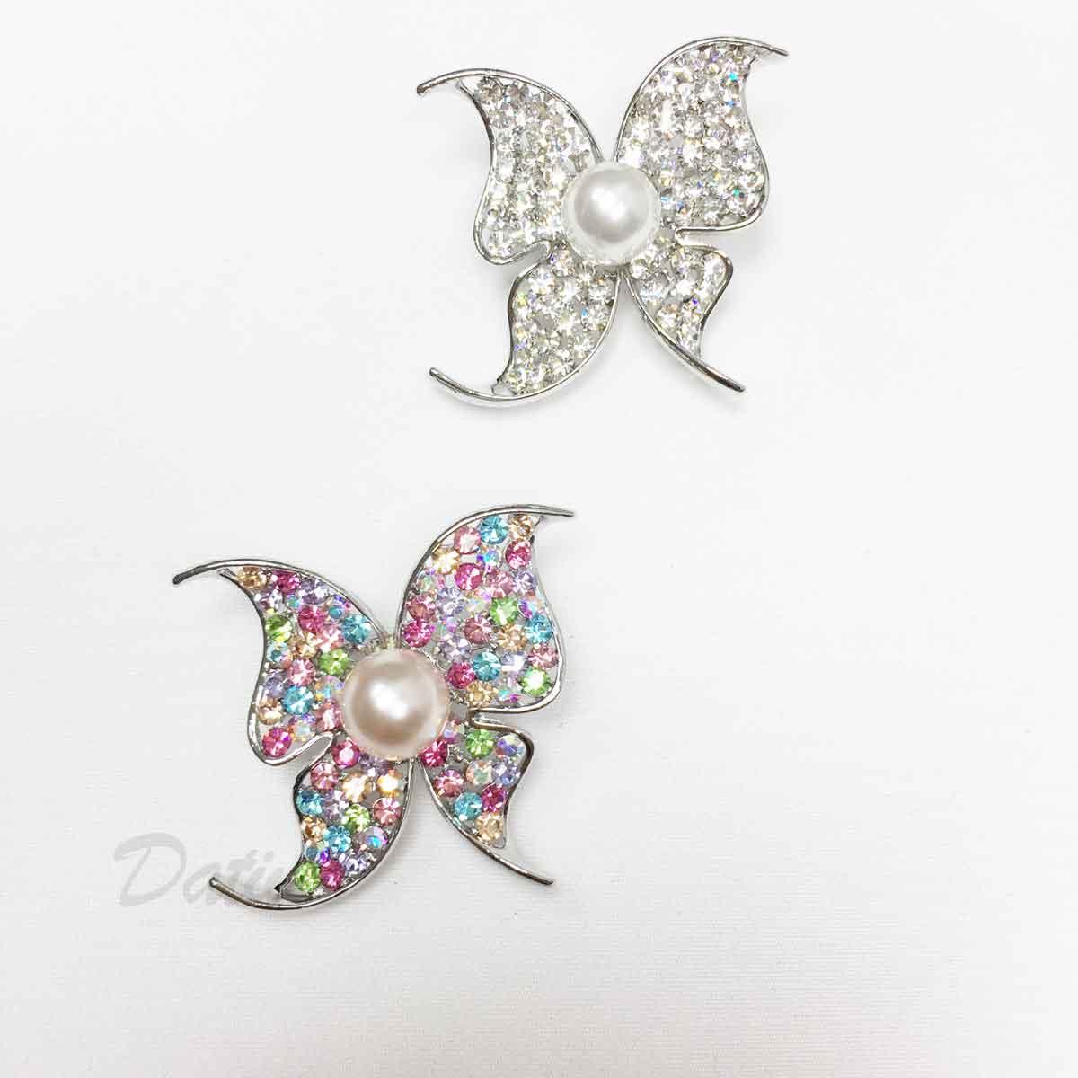 蝴蝶 彩色水鑽 珍珠 翅膀 單個 兩色 胸針