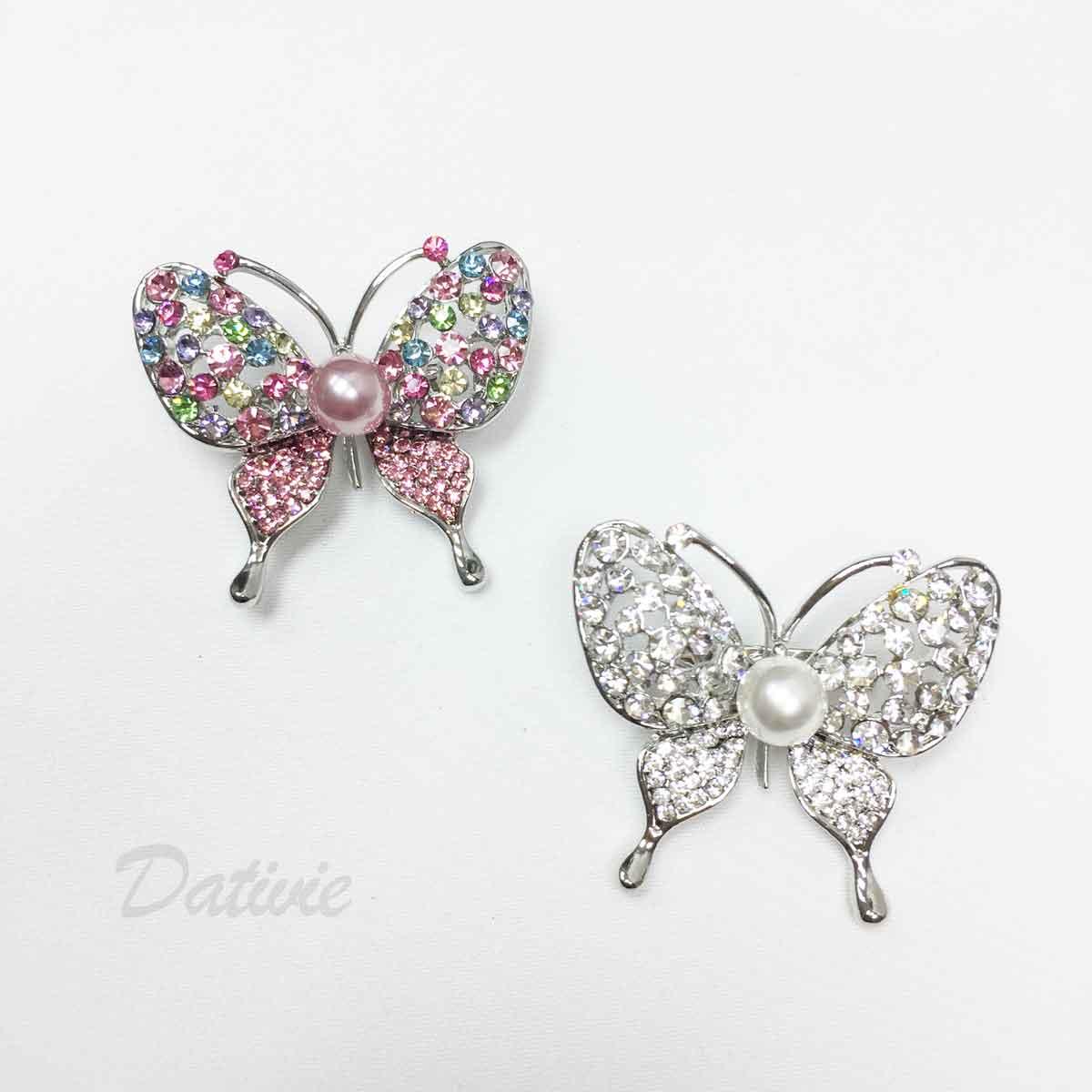 蝴蝶 彩色水鑽 粉珍珠 兩色 單個 胸針