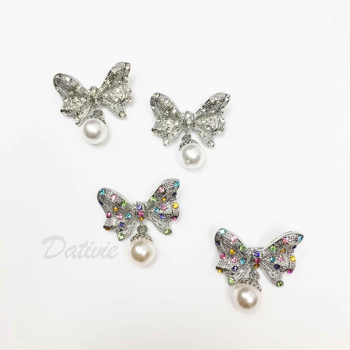 蝴蝶結 彩色水鑽 垂墜 珍珠 兩色 二入一組 胸針