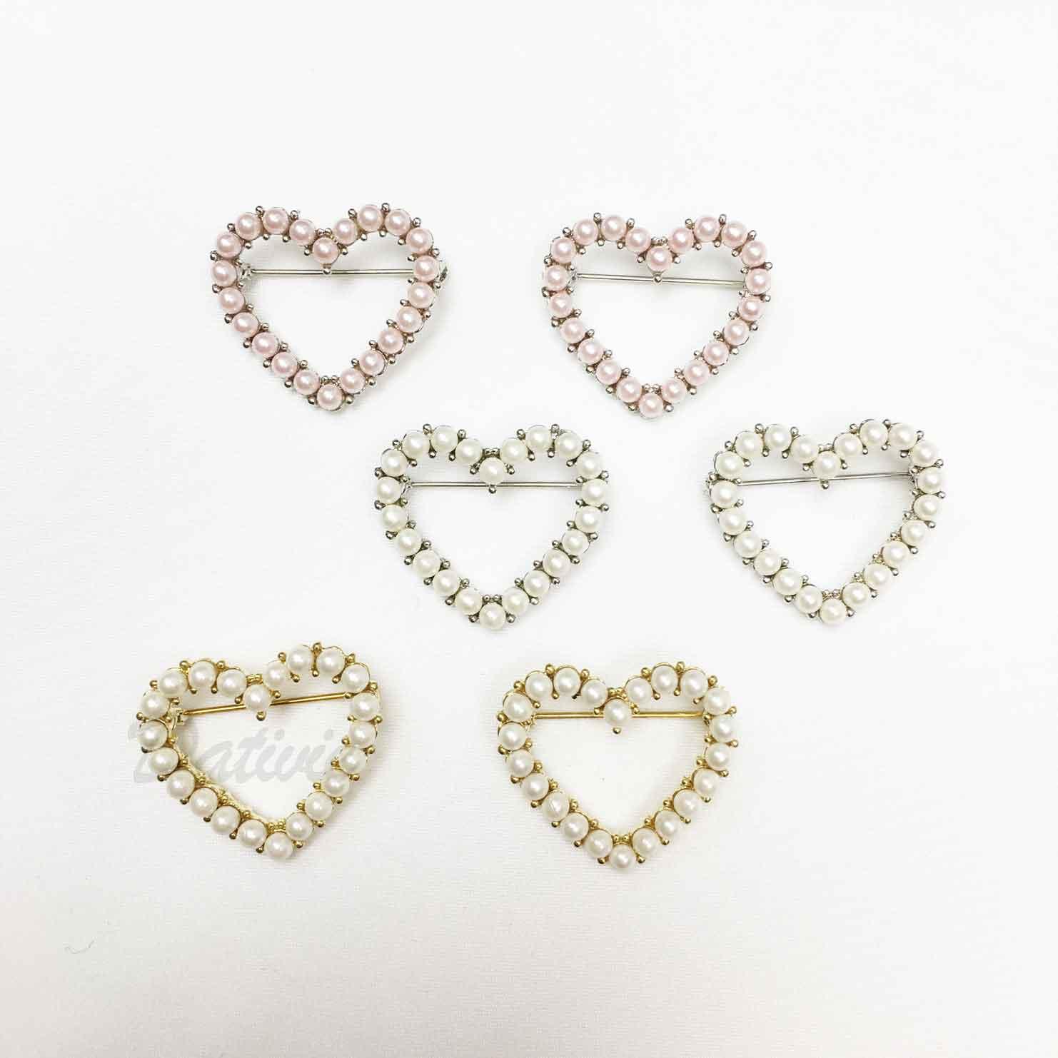 愛心 心形 簍空 珍珠 簡約 可愛 三色 二入一組 胸針