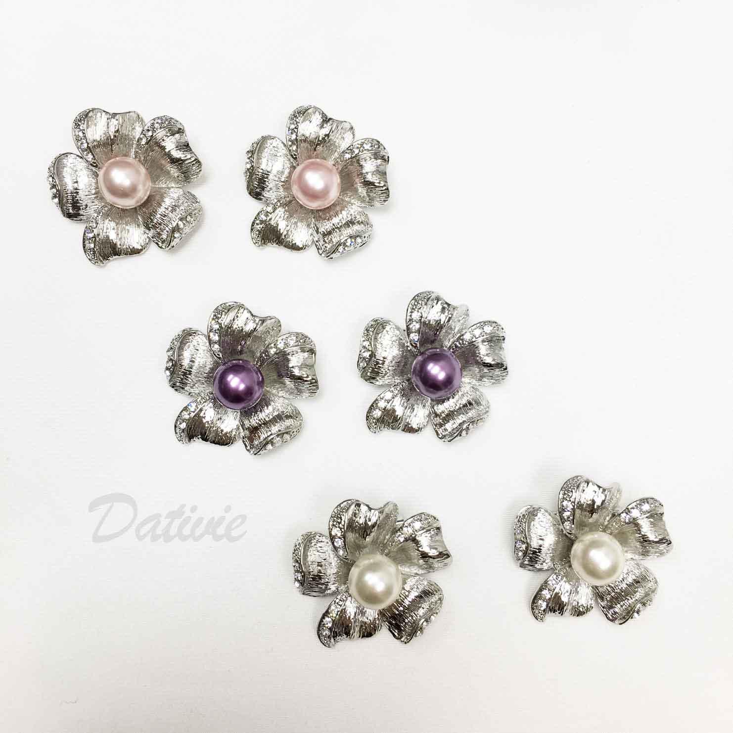 花朵 花紋 紋路 珍珠 水鑽 三色 二入一組 胸針
