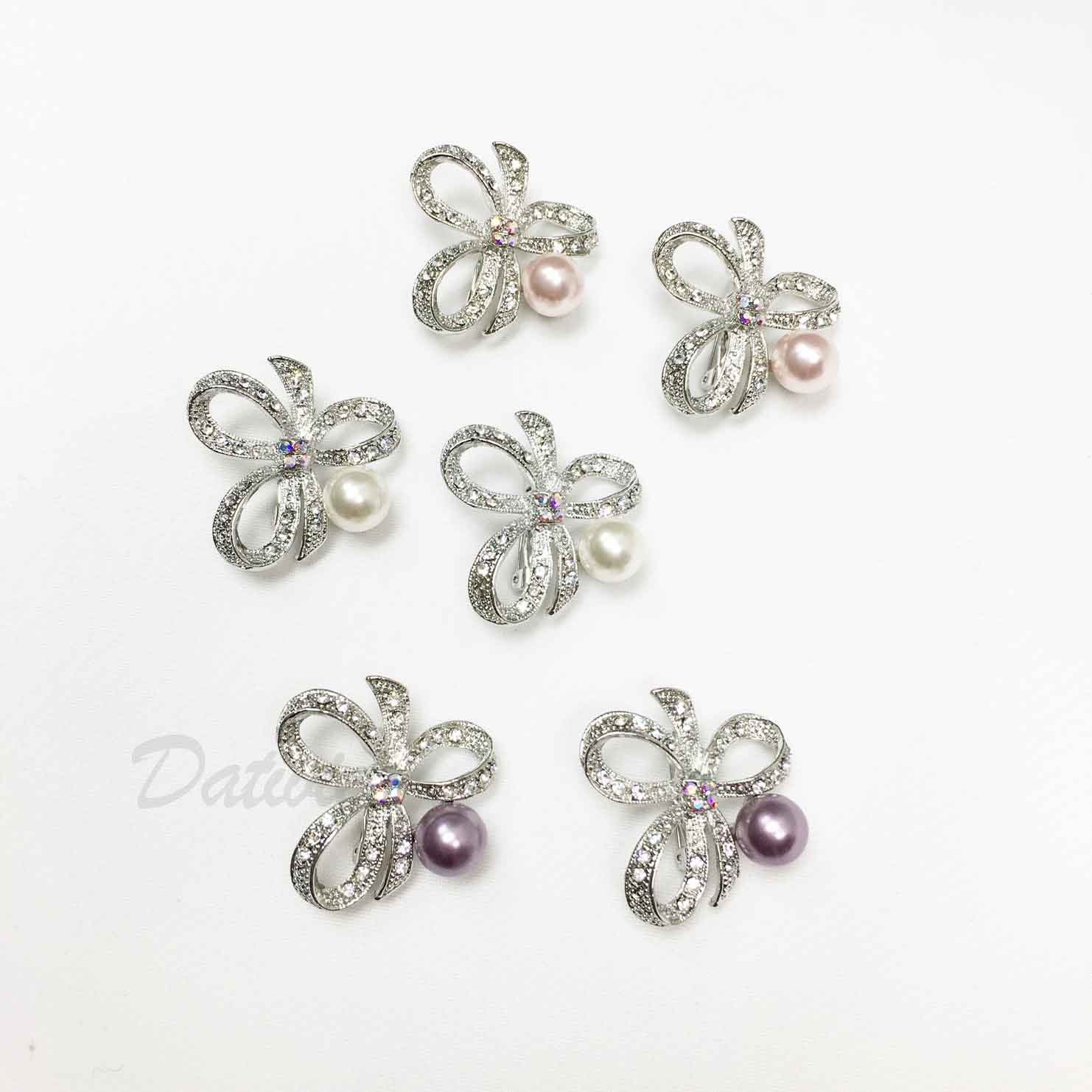 蝴蝶結 緞帶 珍珠 水鑽 三色 二入一組 胸針