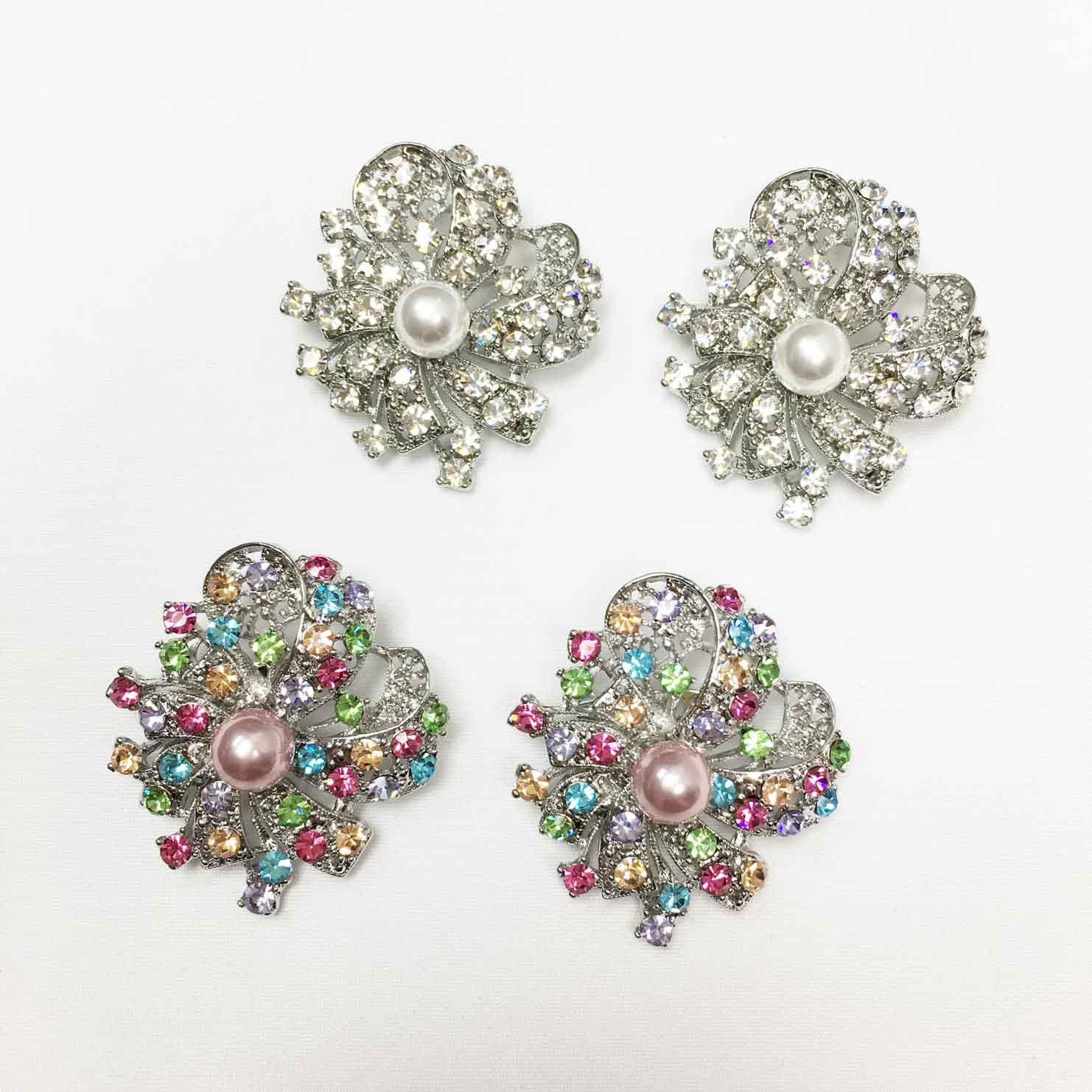 緞帶 彩色水鑽 珍珠 兩色 二入一組 胸針