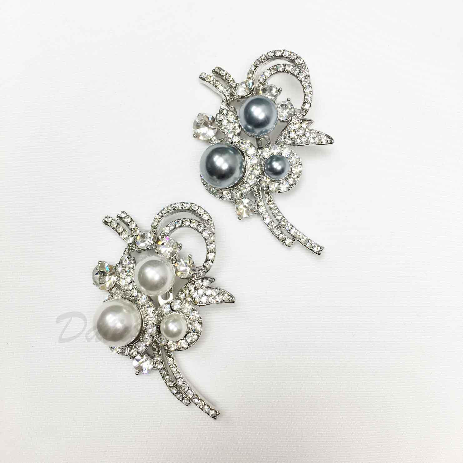 水鑽 不對稱 珍珠 緞帶 線條 兩色 單個 胸針