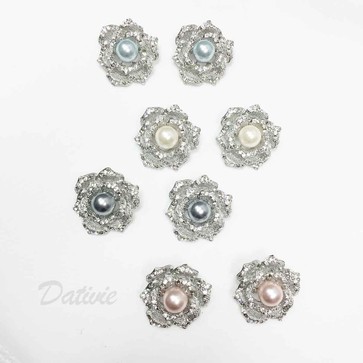 花朵 玫瑰 珍珠 水鑽 四色 二入一組 胸針