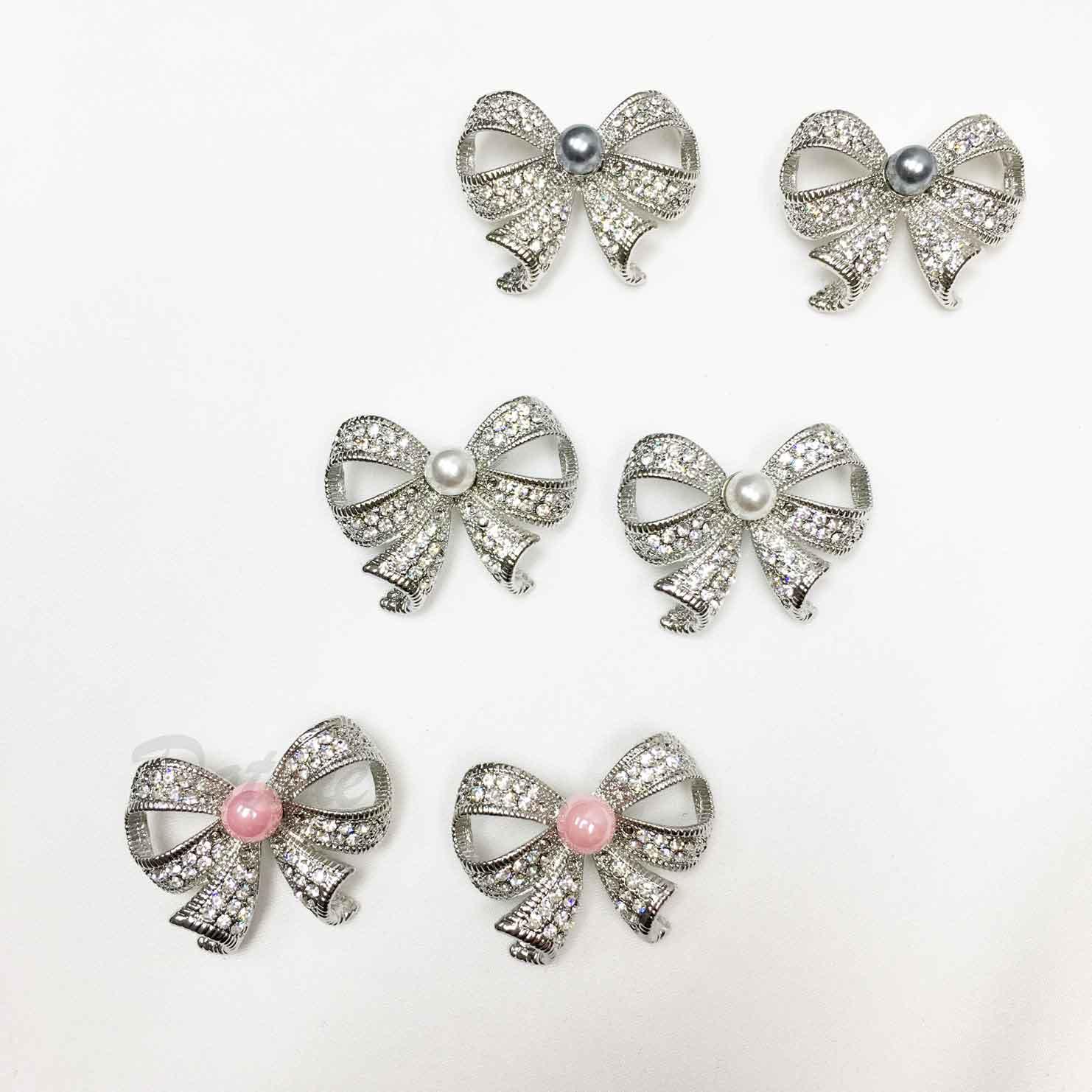 蝴蝶結 緞帶 珍珠 水鑽 簍空 三色 二入一組 胸針