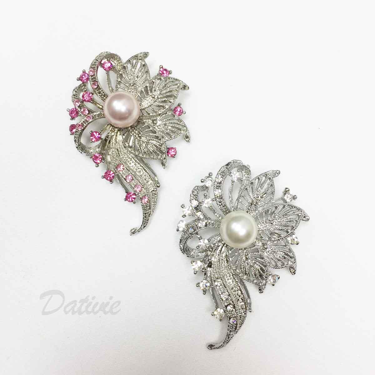 大花朵 珍珠 水鑽 簍空 不對稱 單個 兩色 胸針