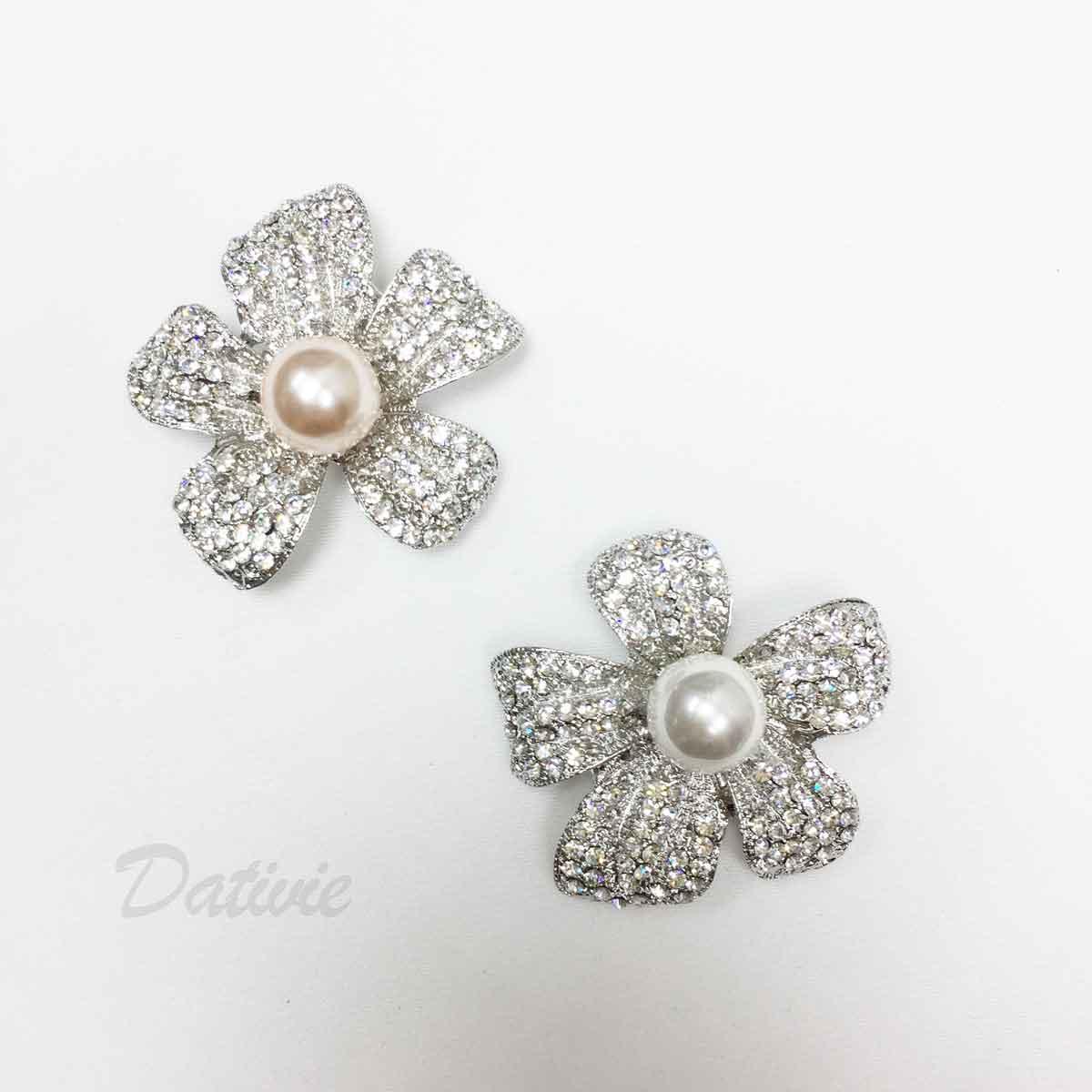 大花朵 珍珠 水鑽 單個 兩色 胸針